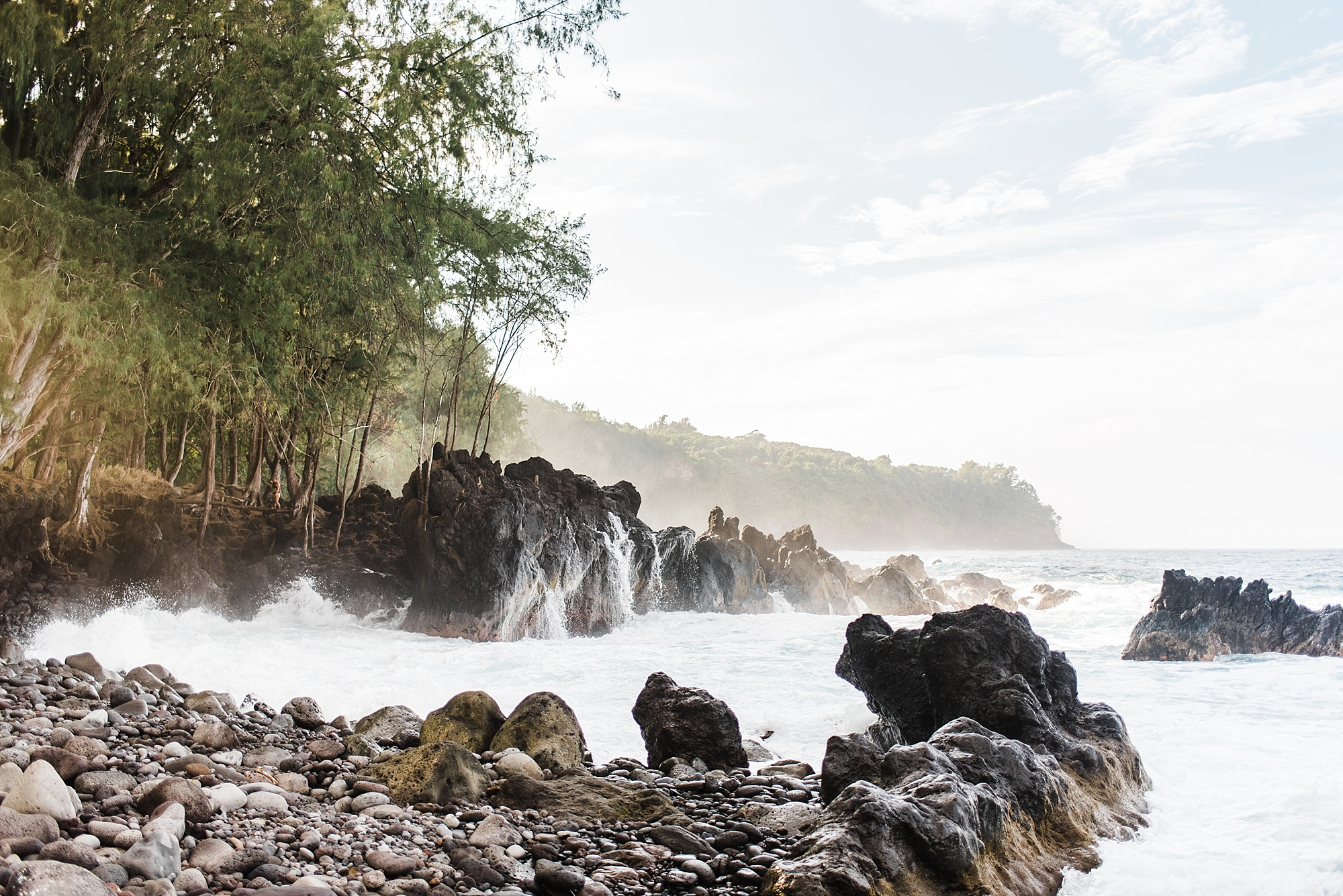 Photo of Laupahoehoe Beach Park during golden hour, taken by Laura Lango of Forthright Photo