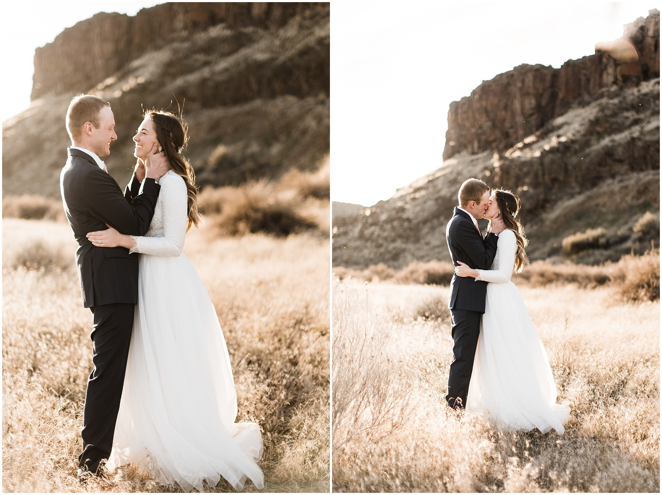 Diptych of a bride and groom standing in a desert canyon by Forthright Photo