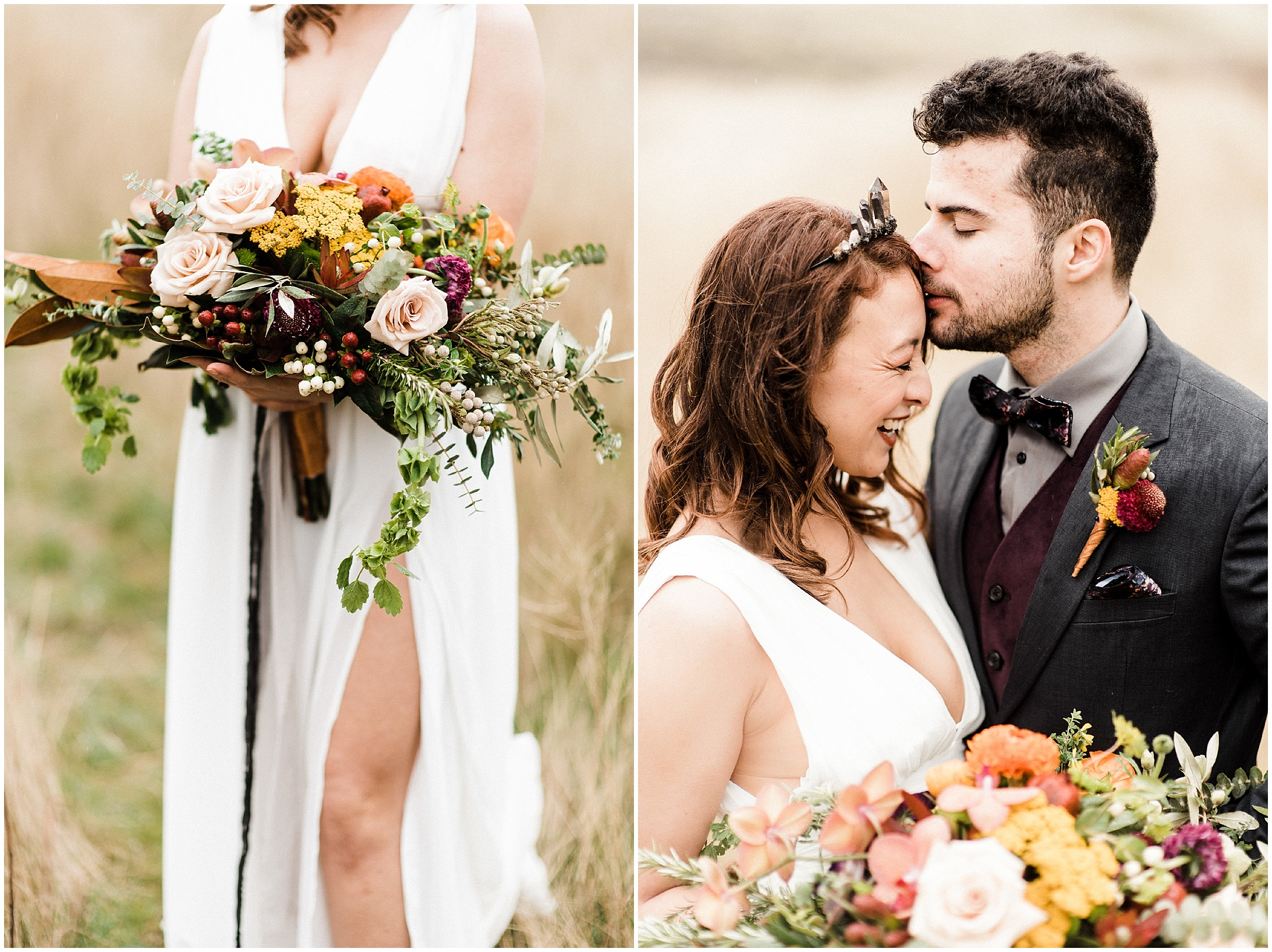 Diptych of a styled elopement shoot in Lyons Ferry State Park by Forthright Photo