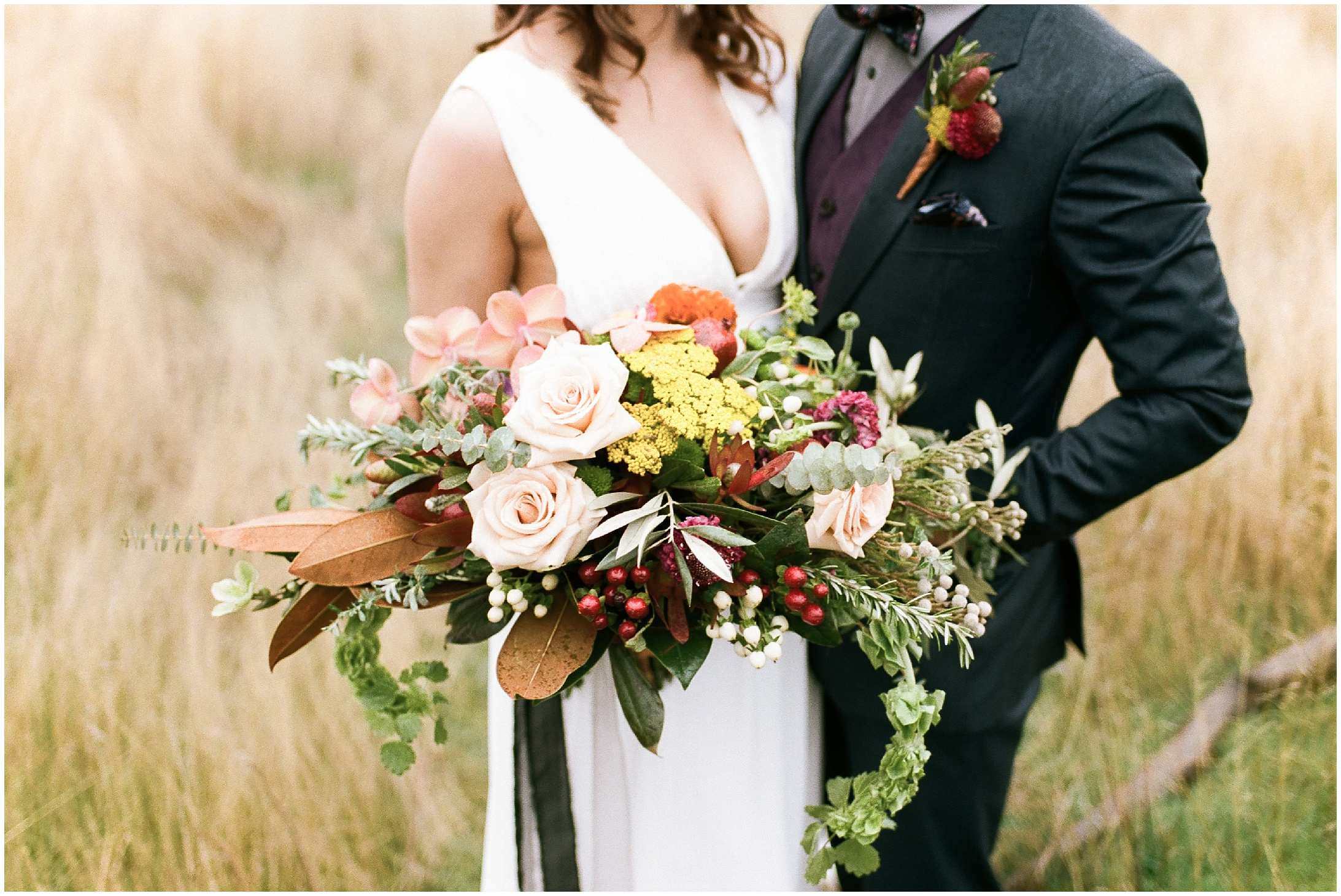 Close up photo of a bouquet in a styled elopement shoot in Lyons Ferry State Park by Forthright Photo