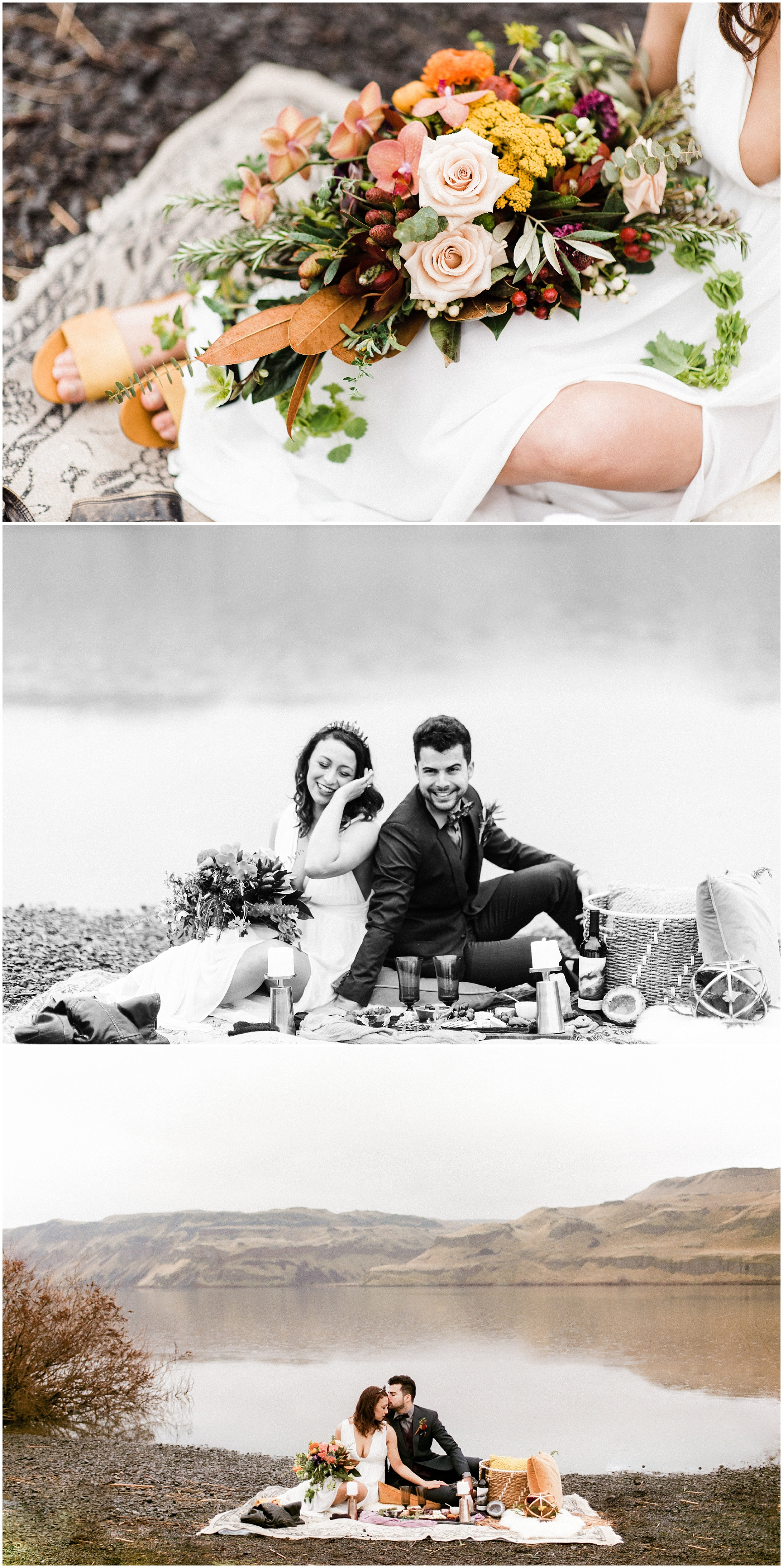 Triptych of a bride and groom picnicking in a styled elopement shoot in Lyons Ferry State Park by Forthright Photo