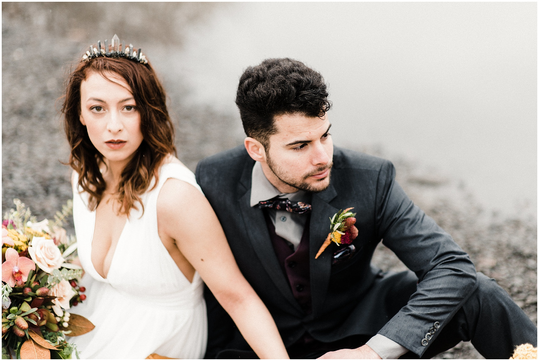 Photo of a bride and groom in a styled elopement shoot in Lyons Ferry State Park by Forthright Photo