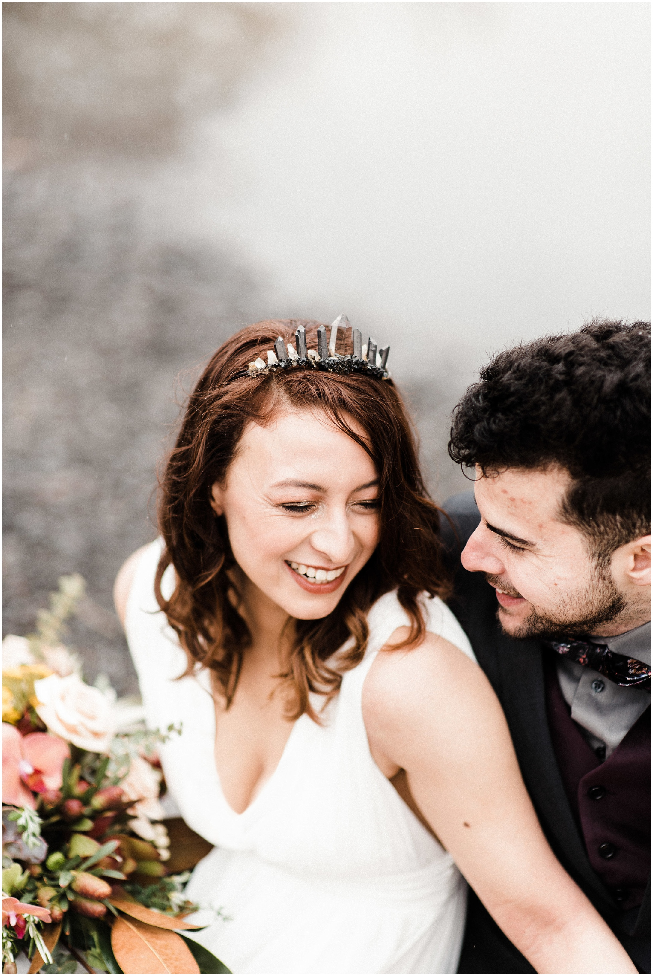 Photo of bride laughing in a styled elopement shoot in Lyons Ferry State Park by Forthright Photo
