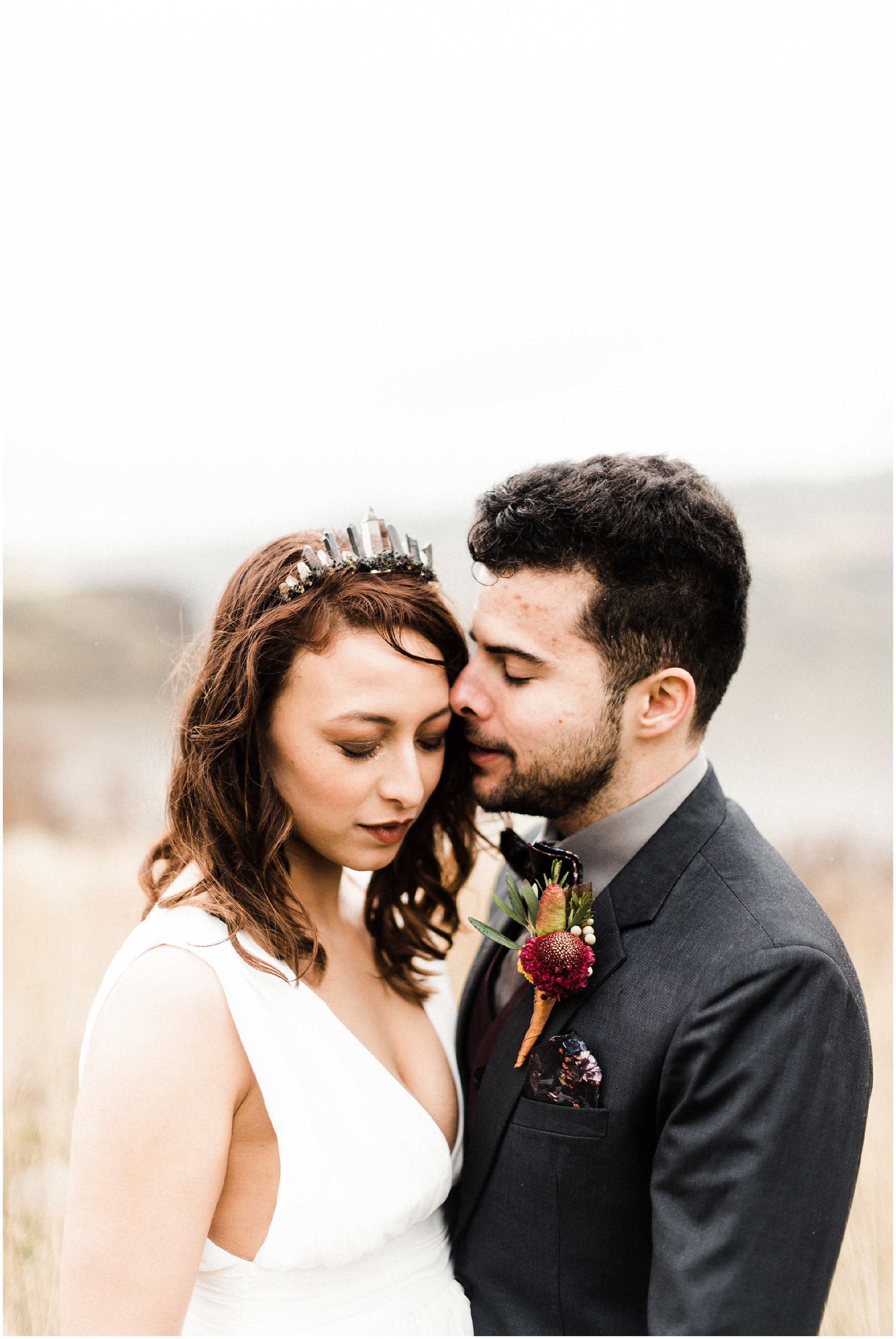 Photo of bride and groom in a styled elopement shoot in Lyons Ferry State Park by Forthright Photo