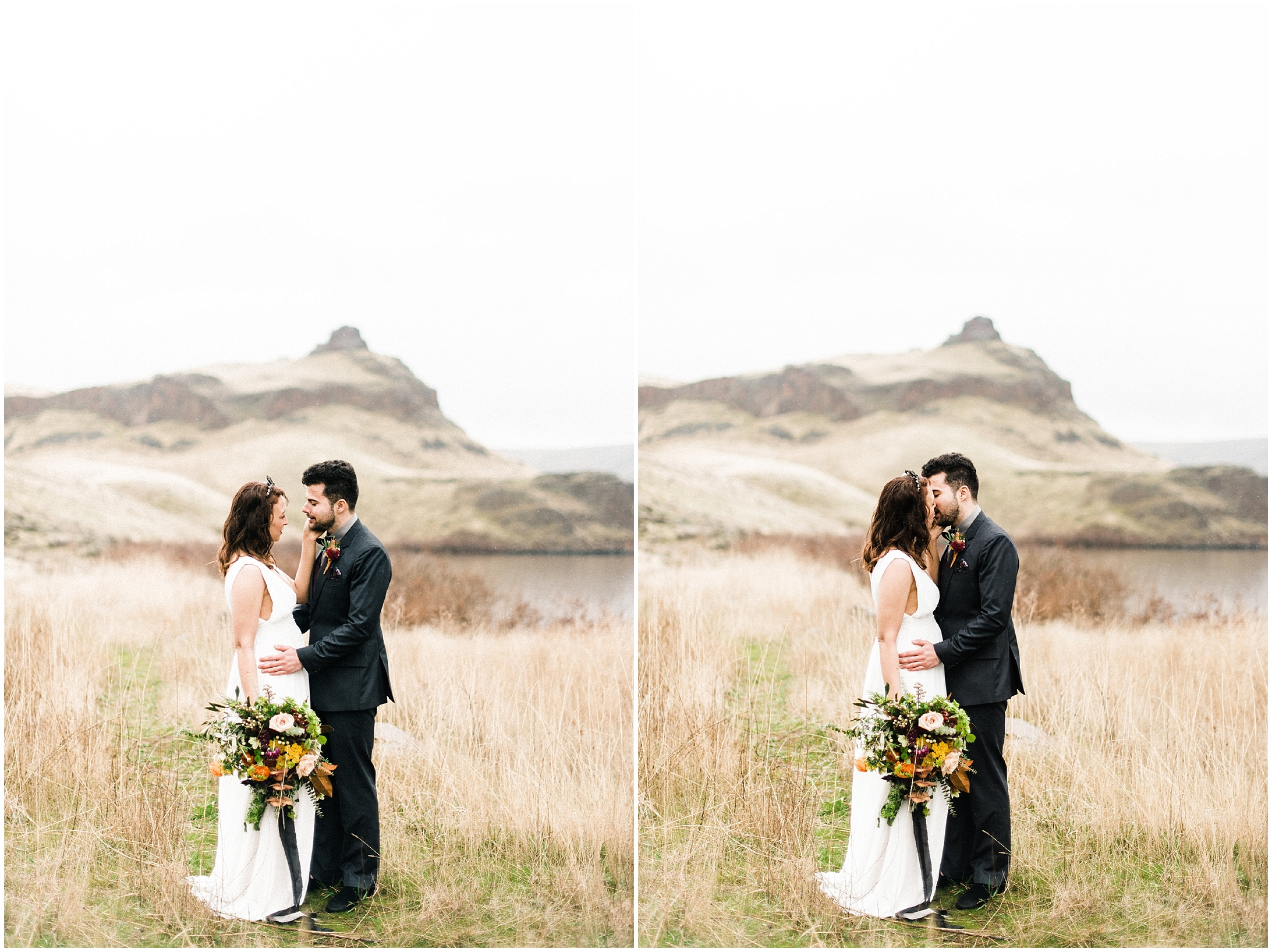 Diptych of a bride and groom in a styled elopement shoot in Lyons Ferry State Park by Forthright Photo