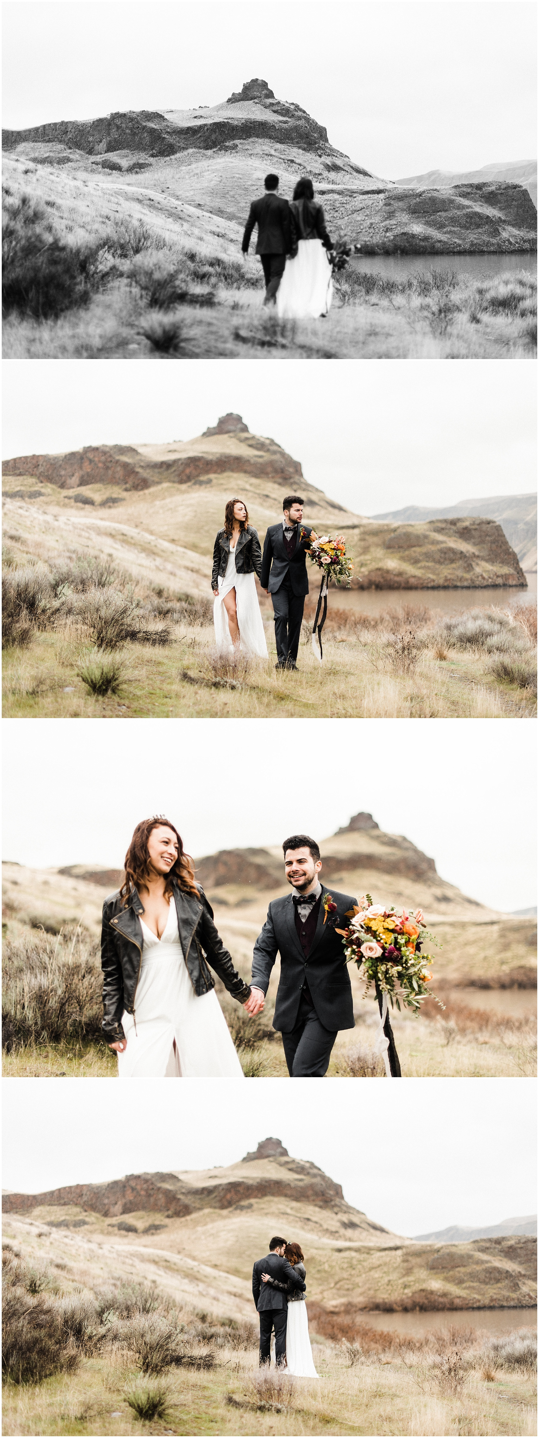 Collage of bride and groom walking in a styled elopement shoot in Lyons Ferry State Park by Forthright Photo