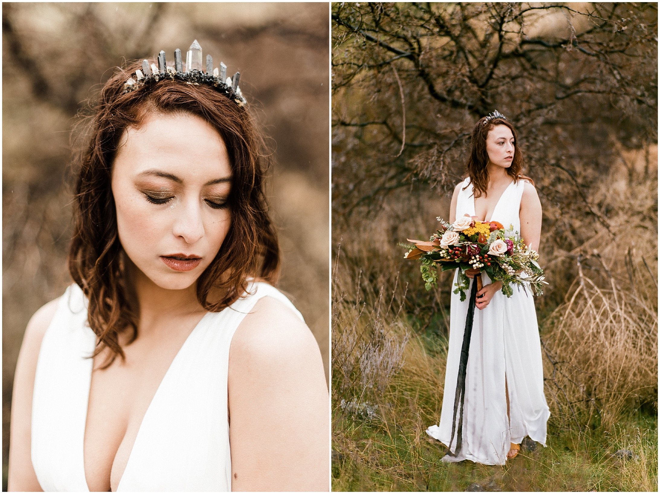 Diptych of a bride in a styled elopement at Lyon's Ferry State Park by Forthright Photo