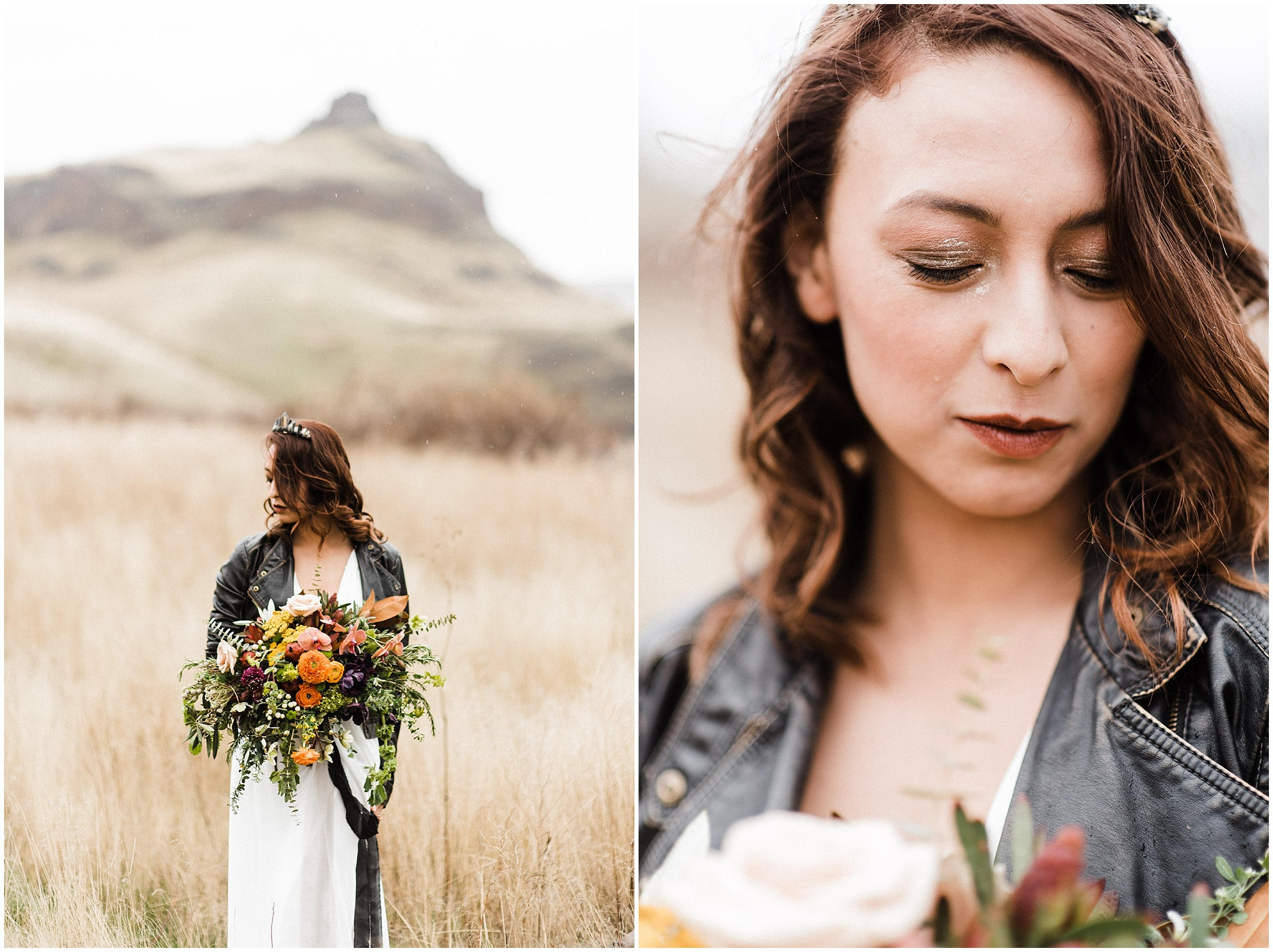 Diptych of the bride in a styled elopement shoot in Lyons Ferry State Park by Forthright Photo