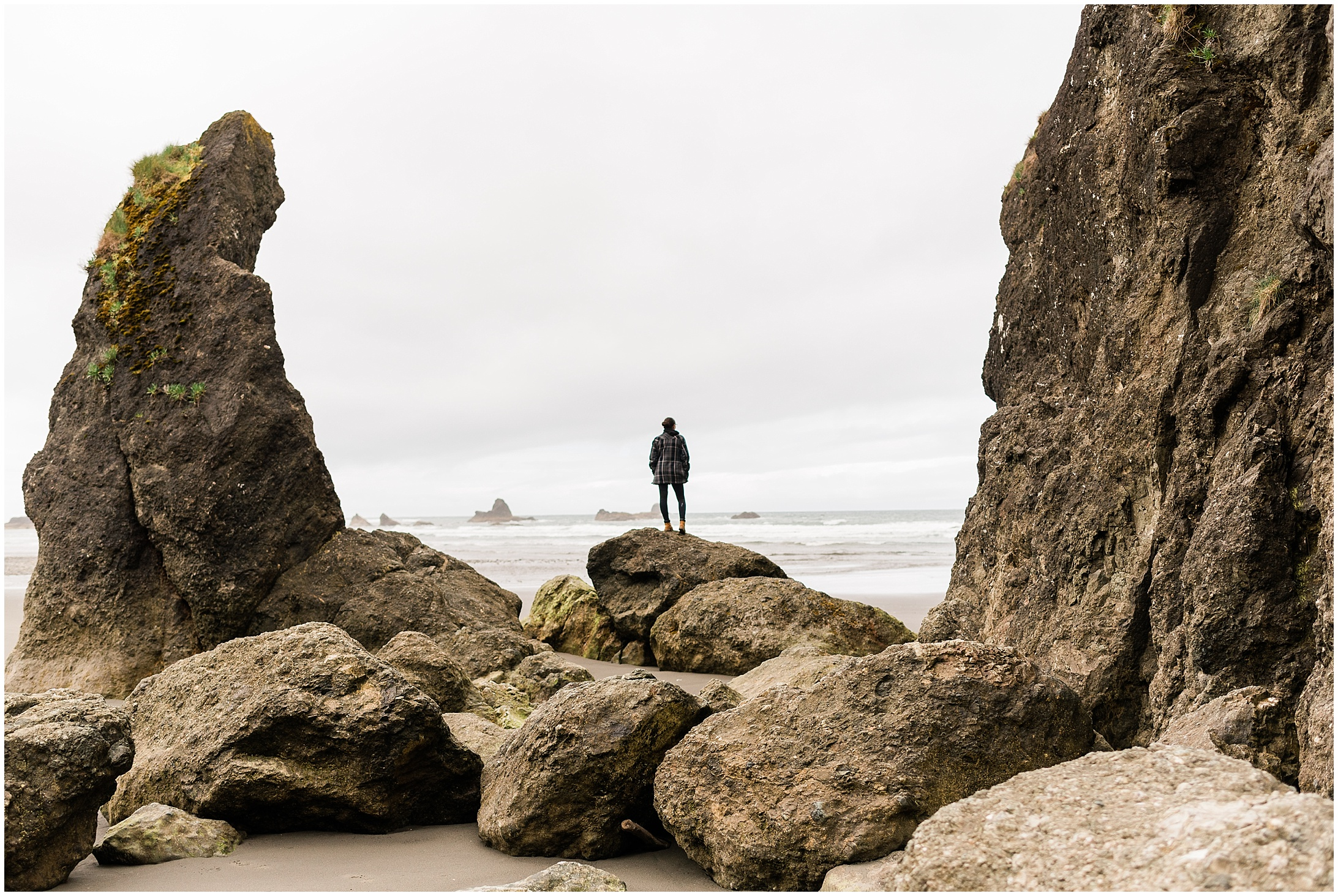 Photo of Laura on Ruby Beach in Olympic National Park by Forthright Photo