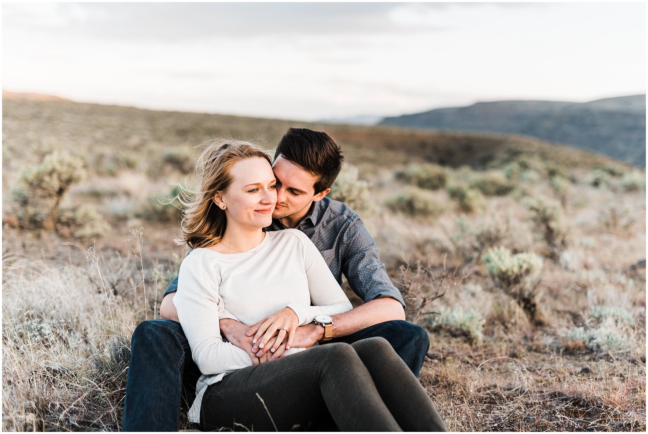 Photo of an engaged couple in Frenchman Coulee Recreation Area by Forthright Photo