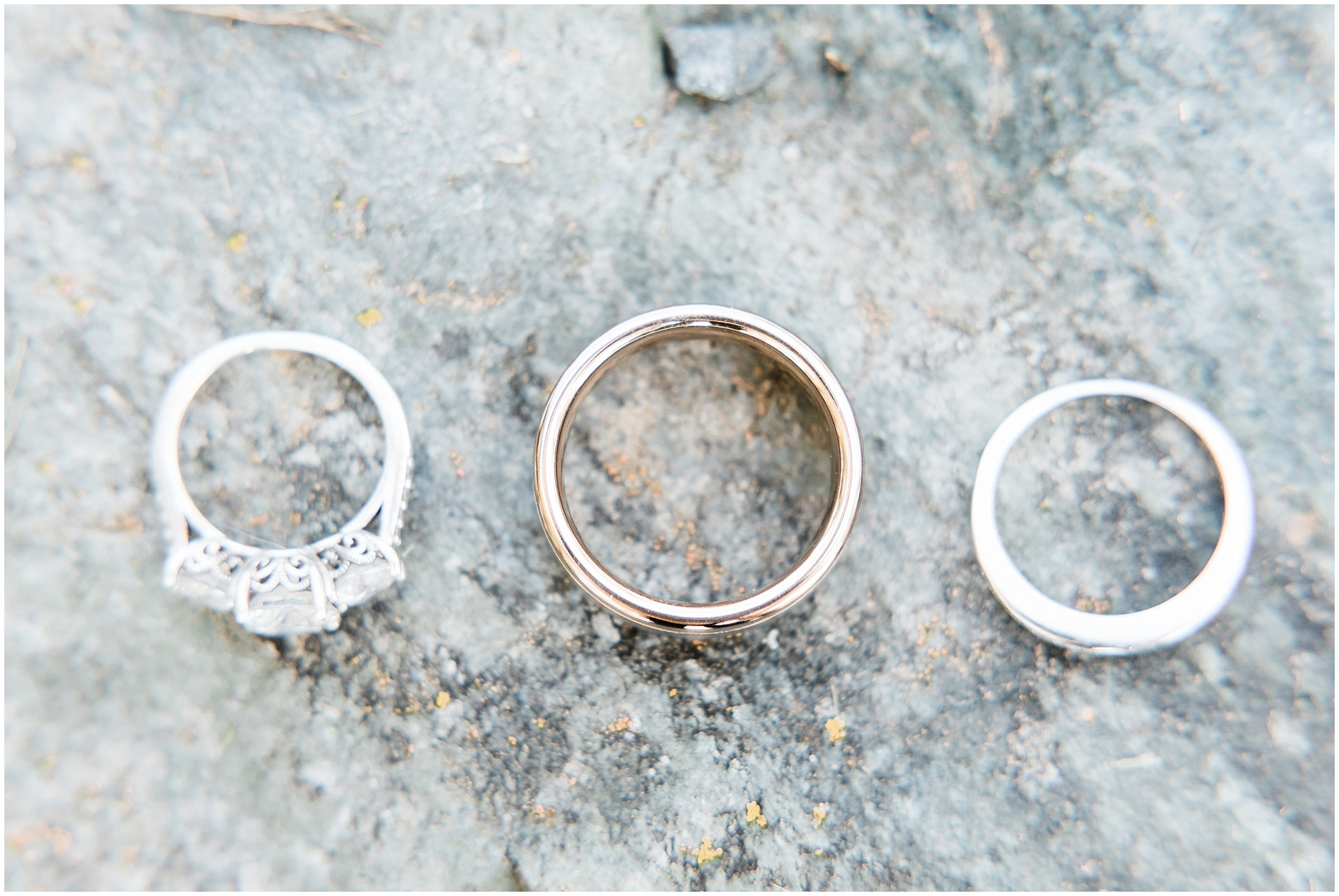 A closeup photo of wedding rings by Forthright Photo