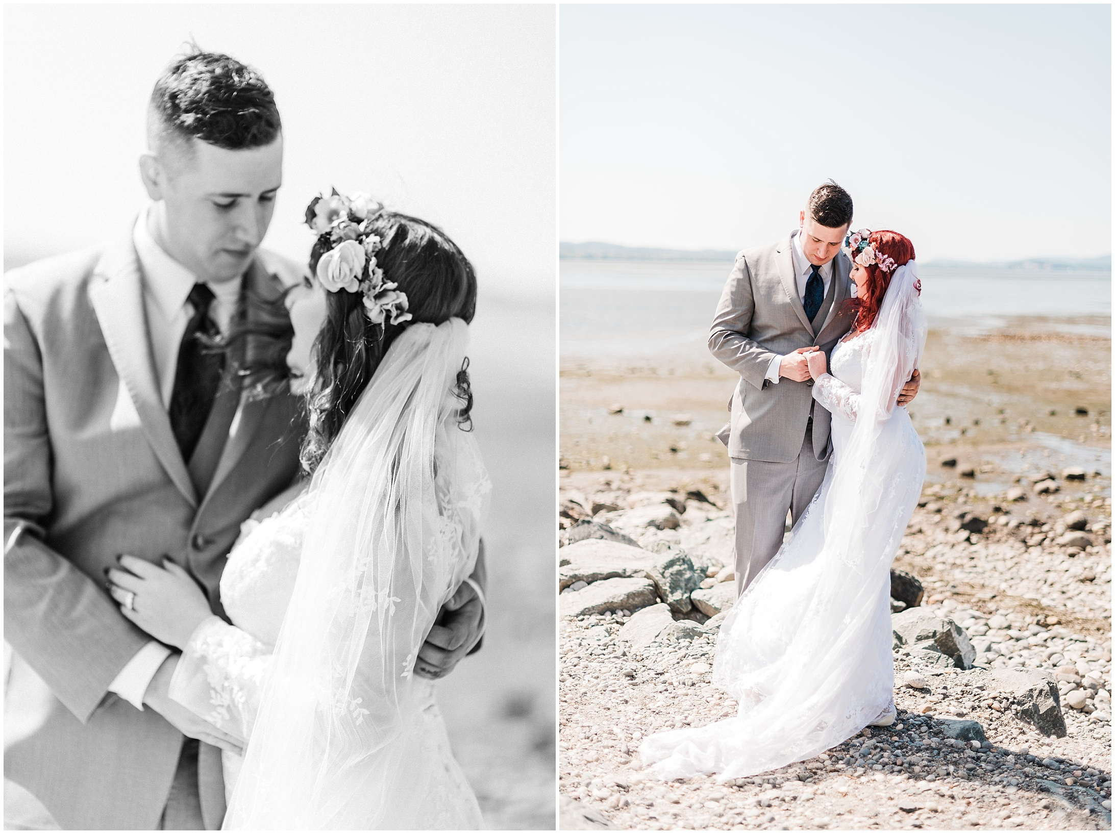 Diptych of a bride and groom on a windy, rocky beach at low tide