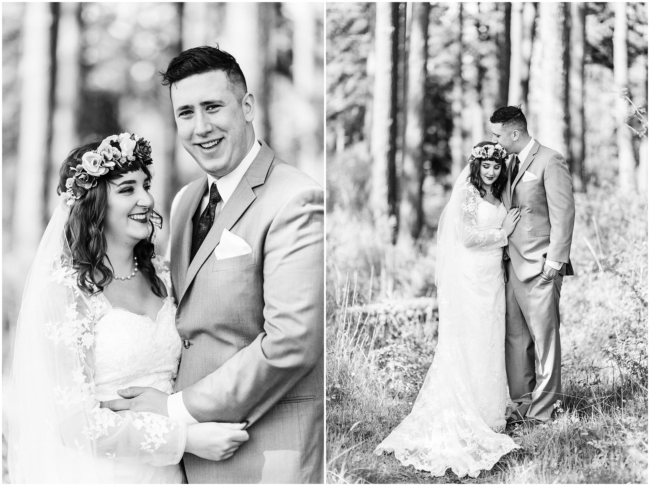 Black and white diptych of a bride and groom in Bayview, WA
