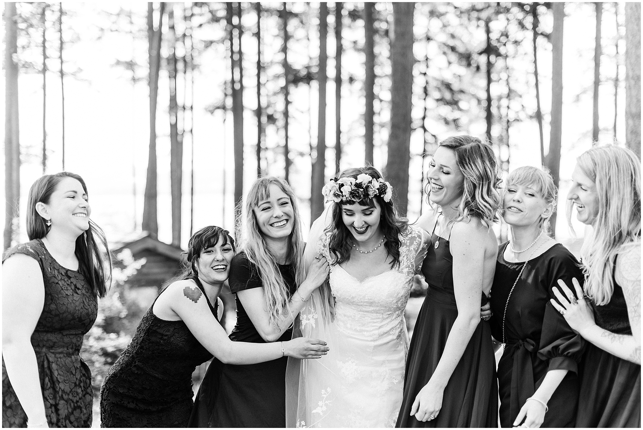 Photo of a bride and her bridesmaids in Bayview State Park wedding