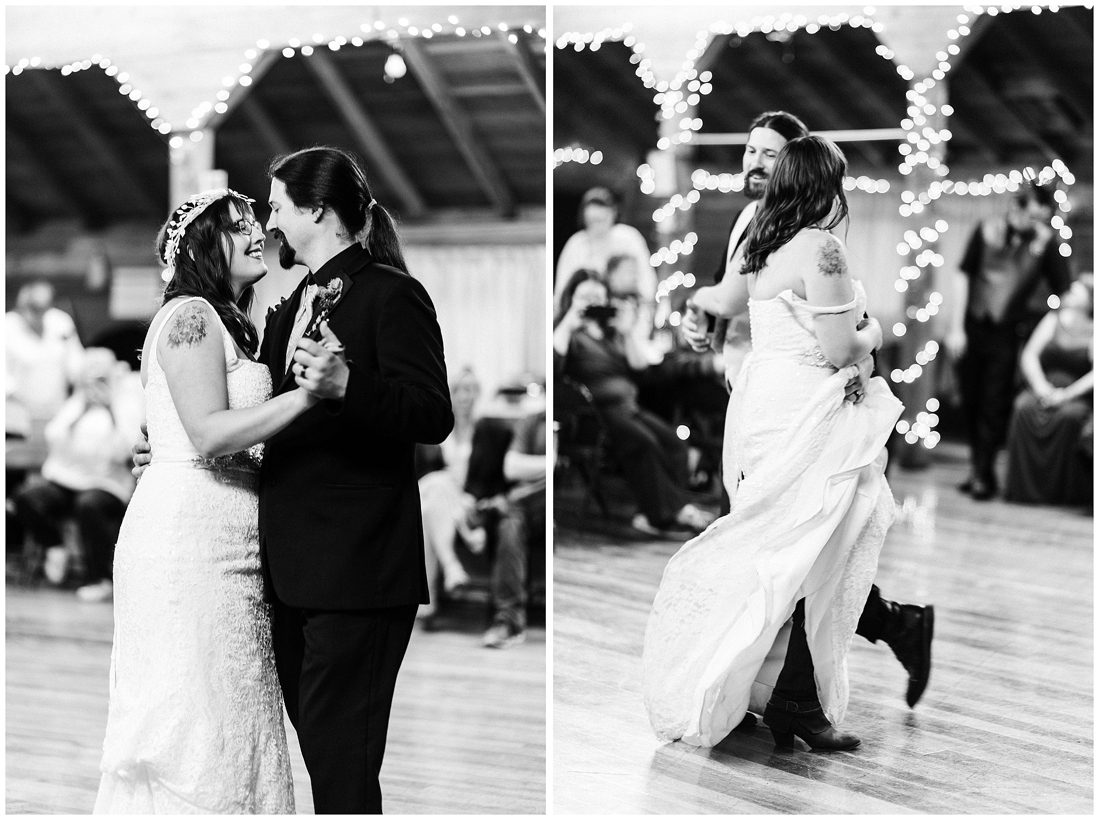 Black and White diptych of Jennell & Daniel's first dance