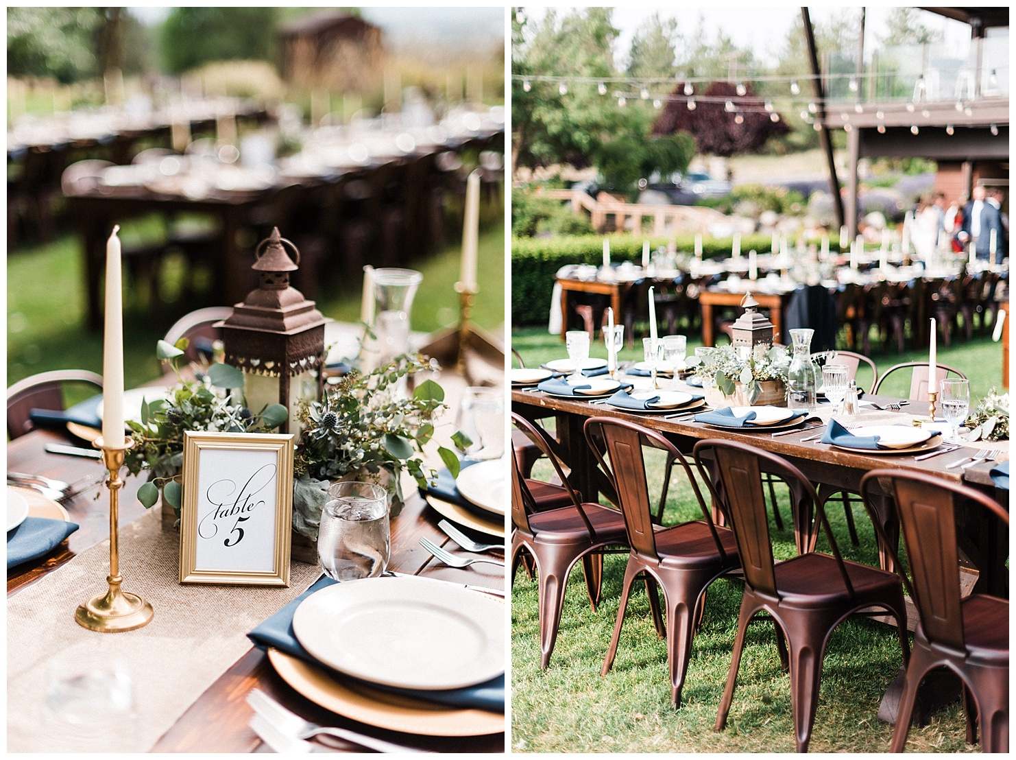 Photos of wedding reception tables and details at Beacon Hill in Spokane, Washington by Forthright Photo