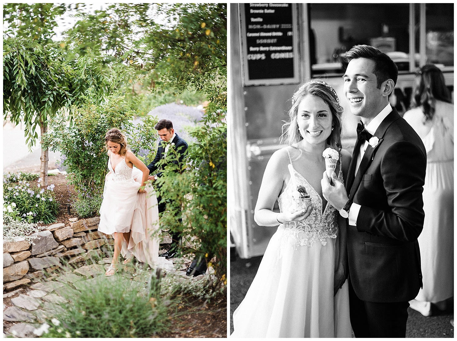 Photo of a bride & groom eating ice cream from a Ben & Jerry's truck at their Beacon Hill Wedding by Forthright Photo