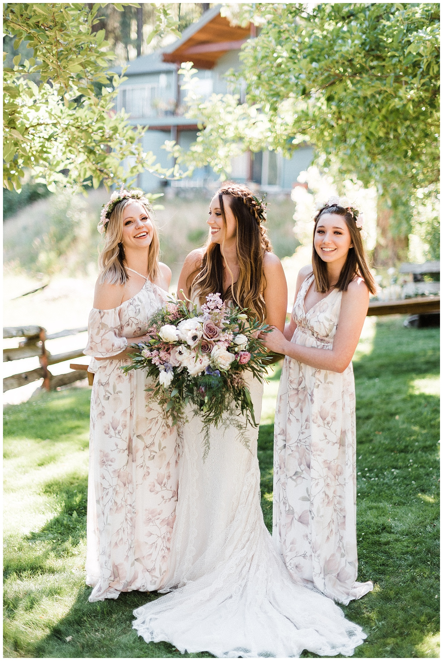 Photo of a bride & her bridesmaids in a backyard, Lake Coeur d'Alene Wedding by Forthright Photo