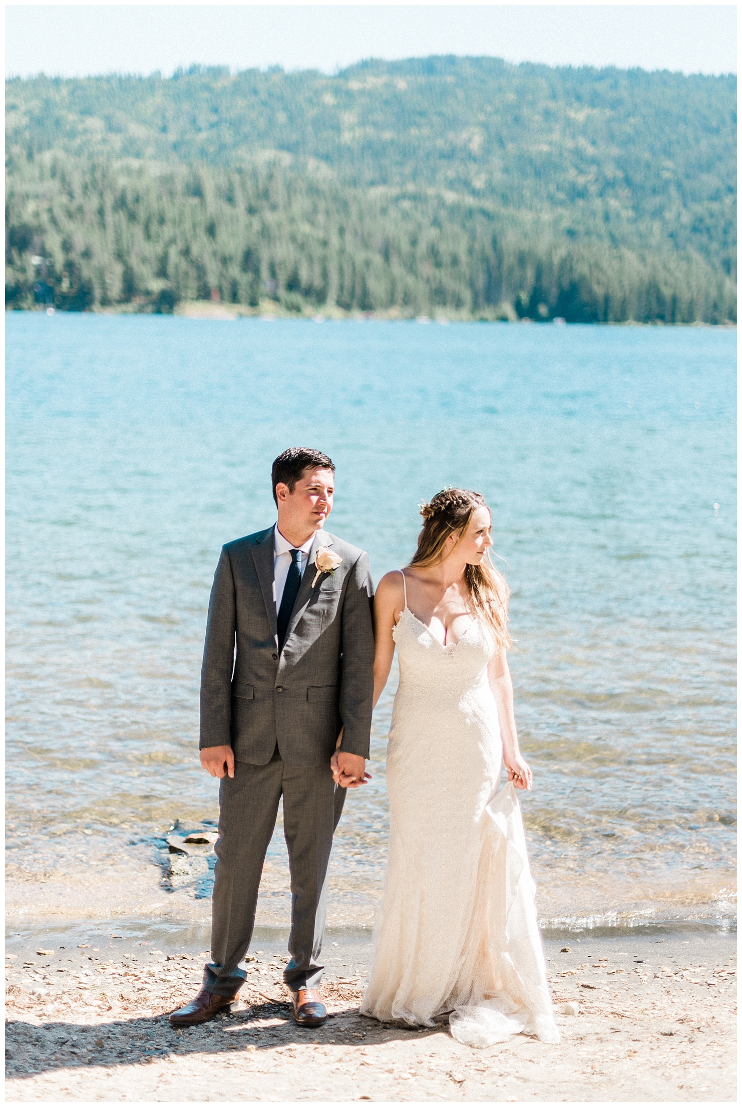 Portraits of a bride & groom on Lake Coeur d'Alene  by Forthright Photo