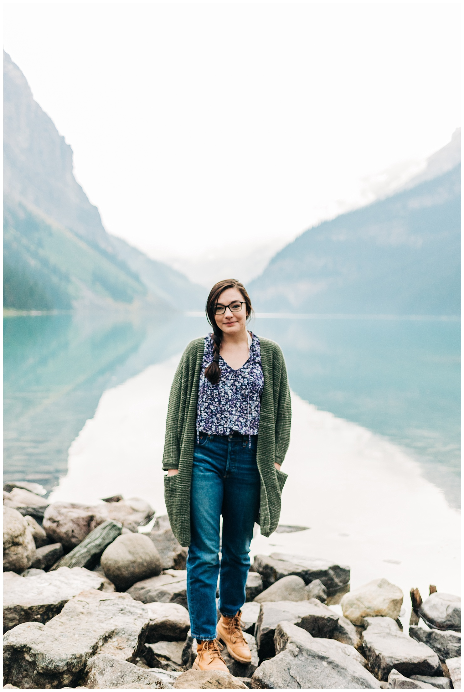 Laura of Forthright Photo, adventure wedding photographers, at Lake Louise in Banff National Park