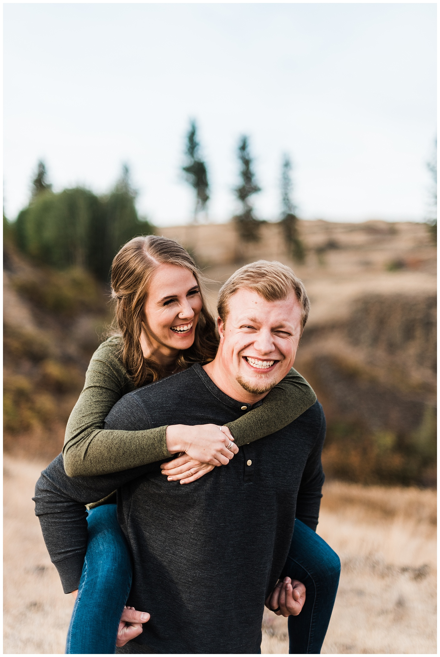 Adventure engagement session at Hog Lake in Cheney Washington by Forthright Photo