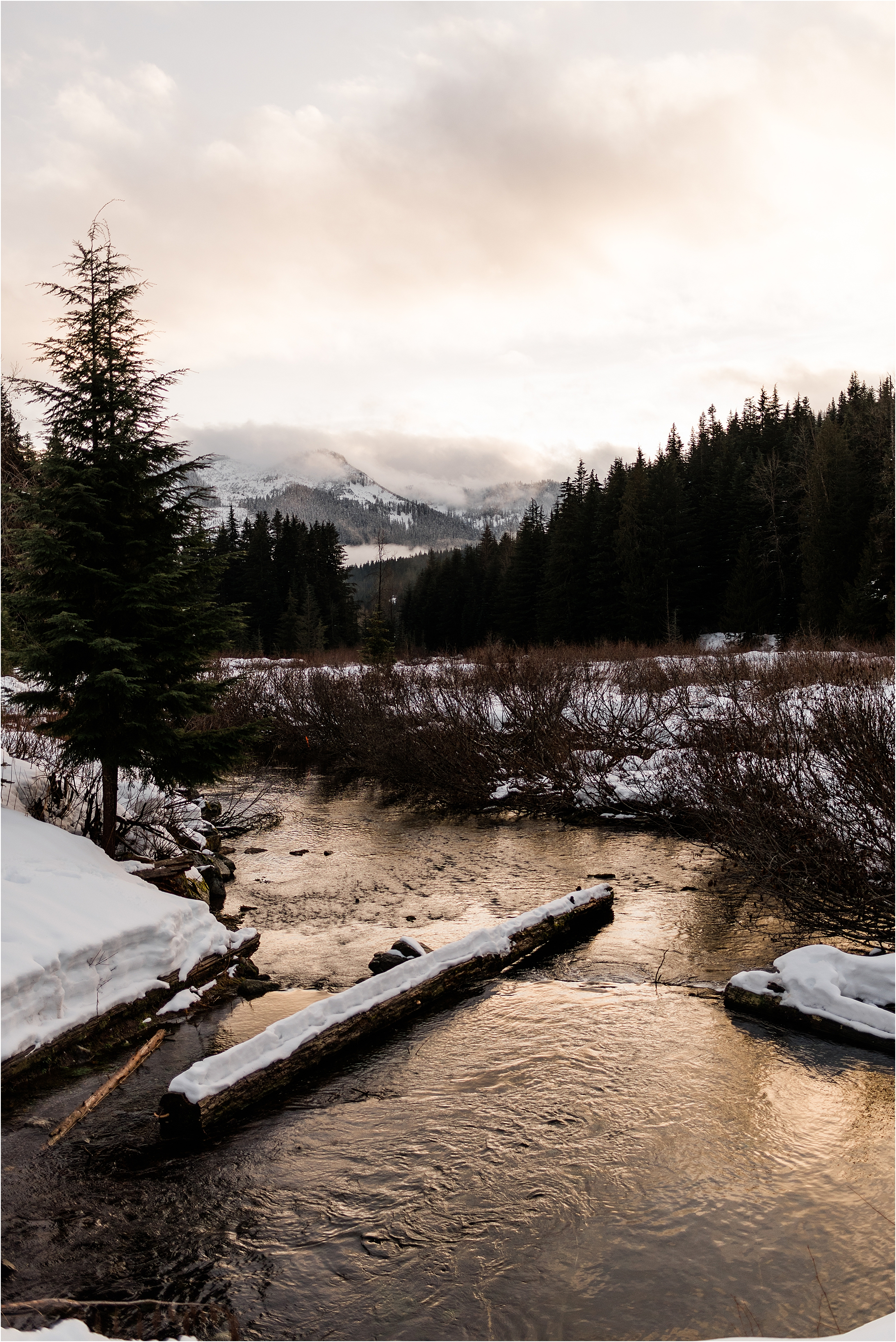 Winter at Gold Creek Pond by Forthright Photo, Seattle and Snoqualmie Pass Wedding Photographers