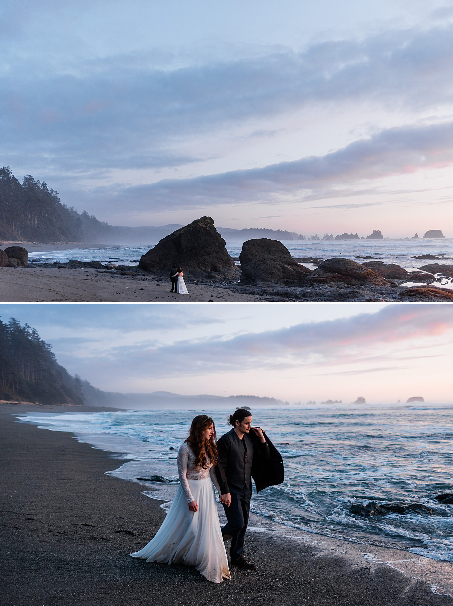 Bride and groom walking along the coast after their shi shi beach elopement. Image by forthright photo
