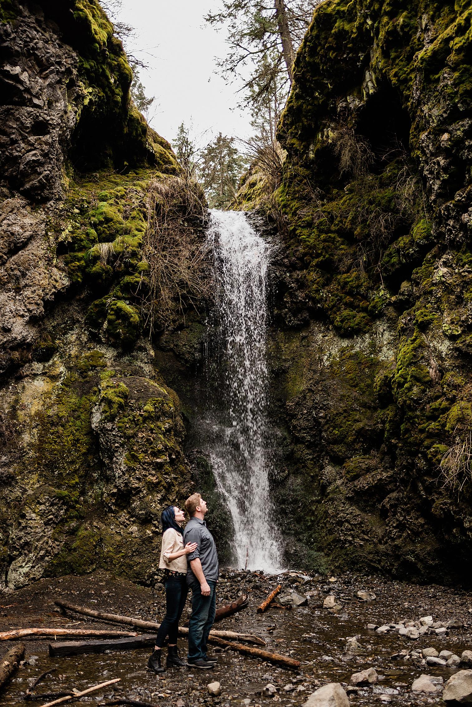 Engagement photos at Indian Canyon Mystic Falls in Spokane Washington