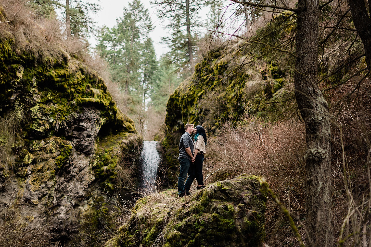 Spokane Waterfall Engagement Session by Forthright Photo, Indian Canyon Mystic Falls