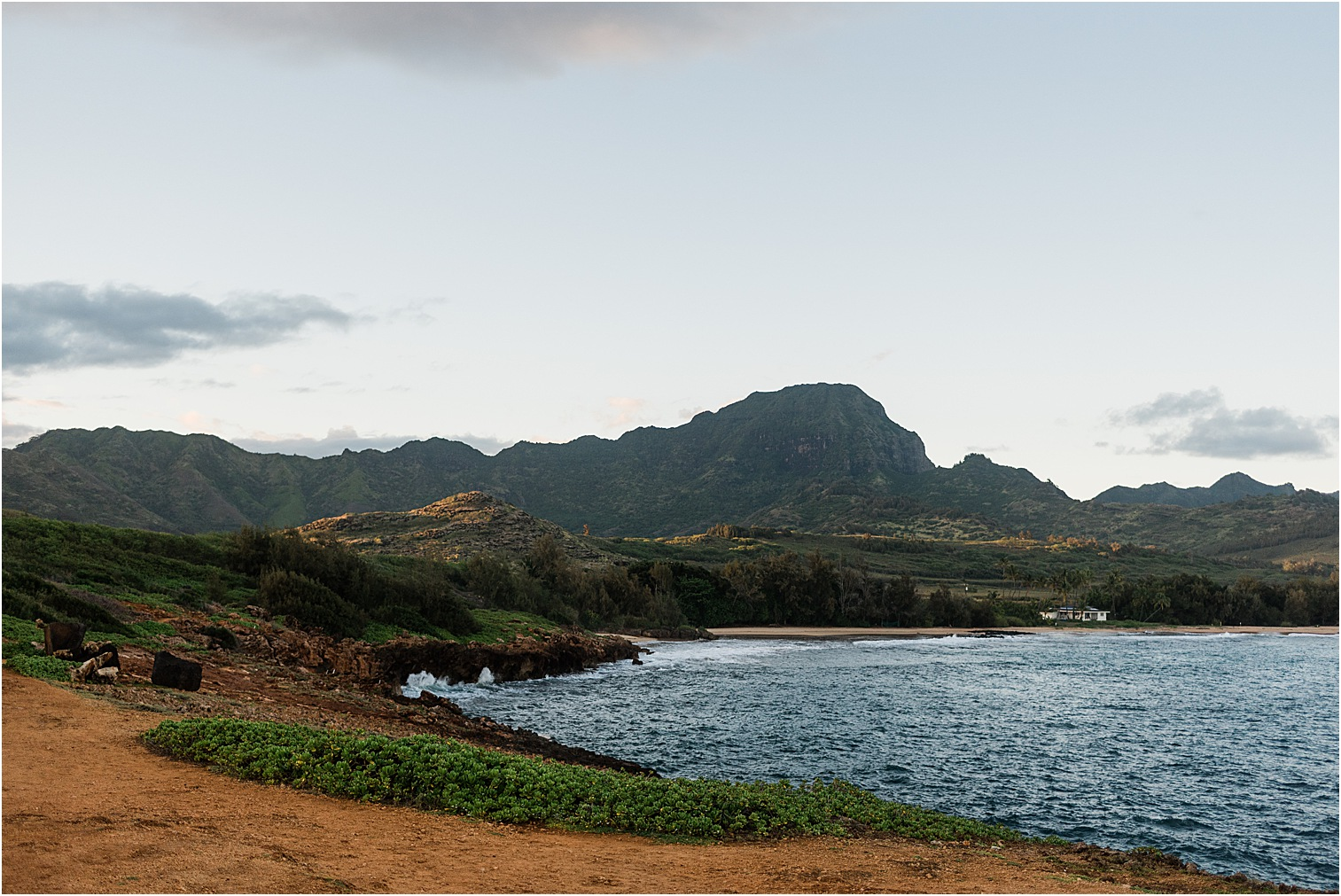 Overlooking Gillin's Beach at Sunset on Kauai