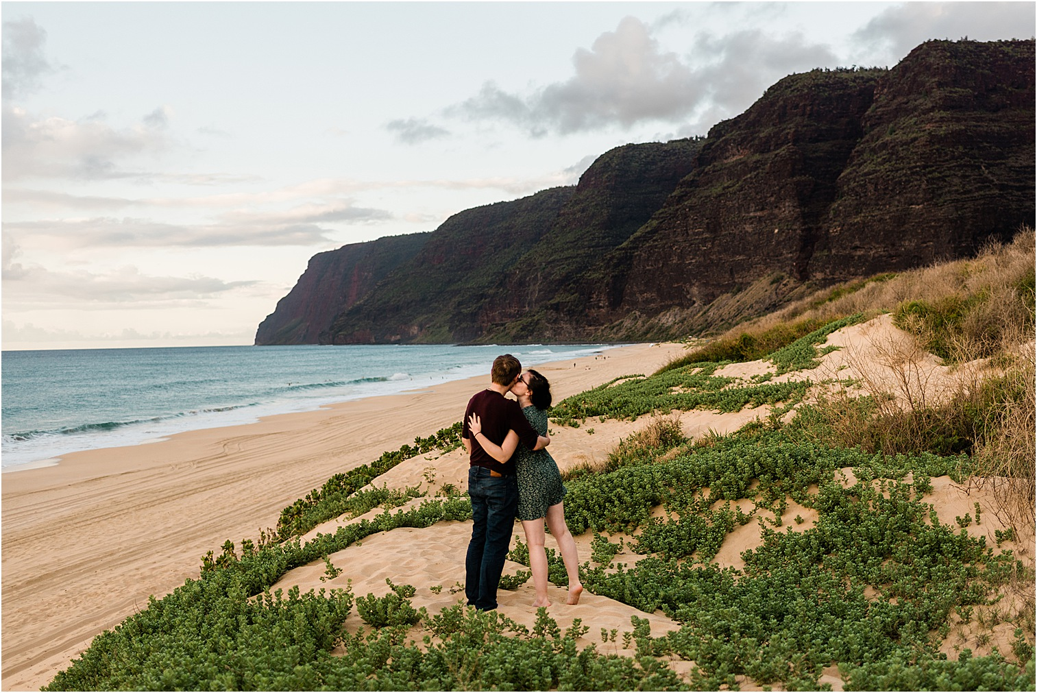 Couple at Polihale Beach at sunset. Image by Forthright Photo, Kauai Wedding Photographers