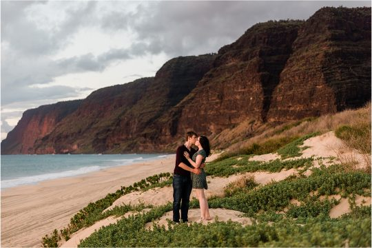 Couple at Polihale Beach at sunset. Image by Forthright Photo, Kauai Elopement Photographers