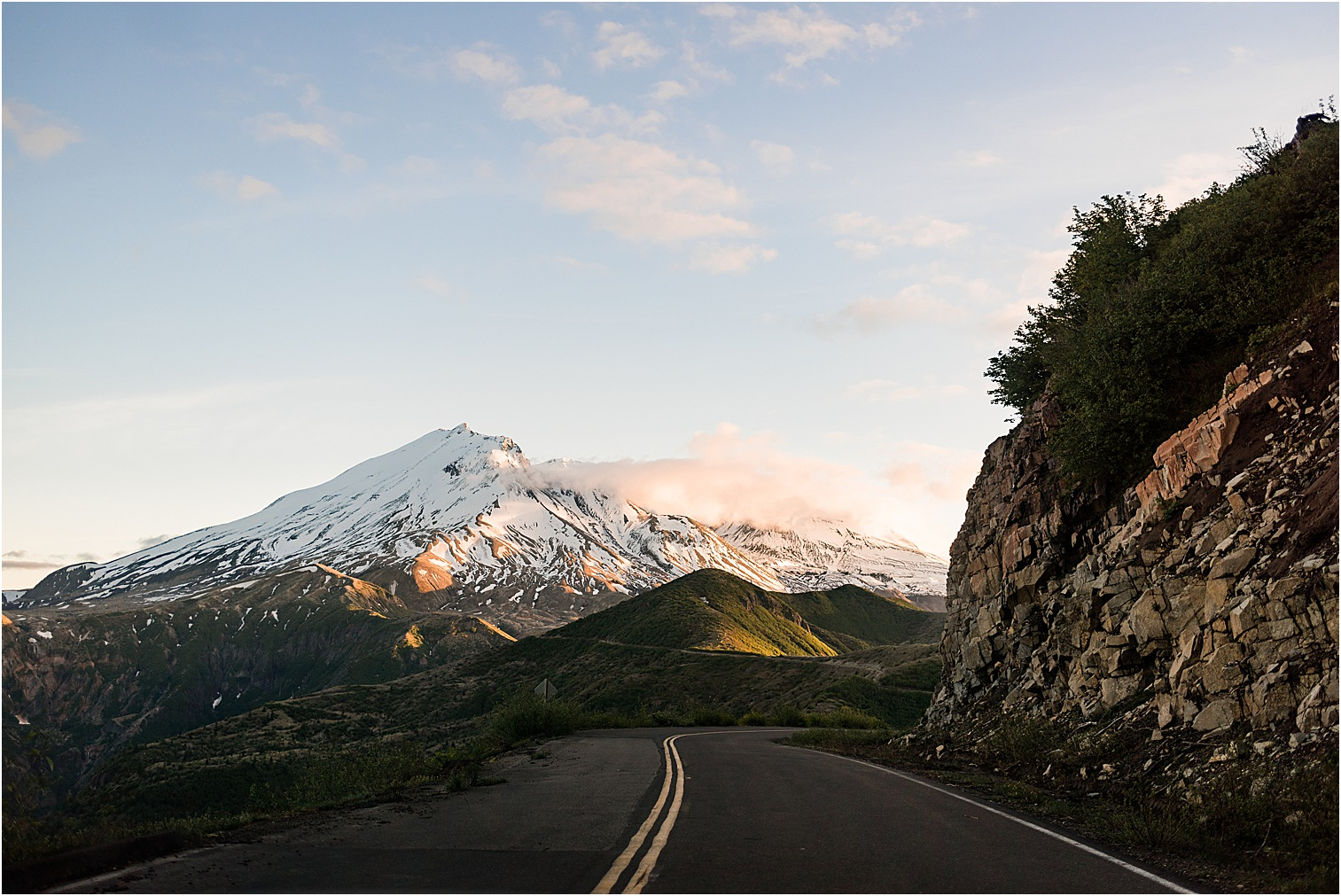 Road to Mt. St Helens at sunset. Image by Forthright Photo, wedding & elopement photographers.