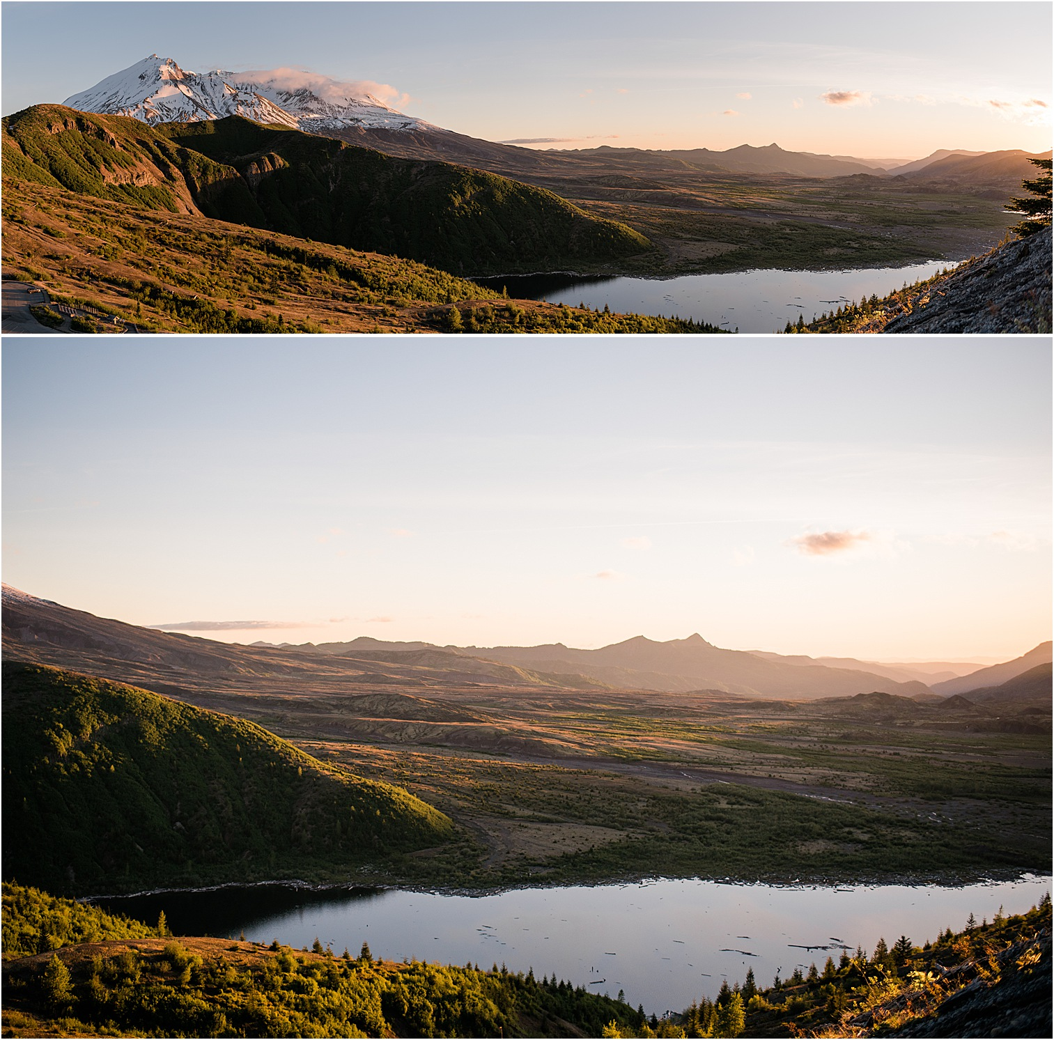 Spirit Lake at Mt St Helens at sunset. Image by Forthright Photo, wedding & elopement photographers.