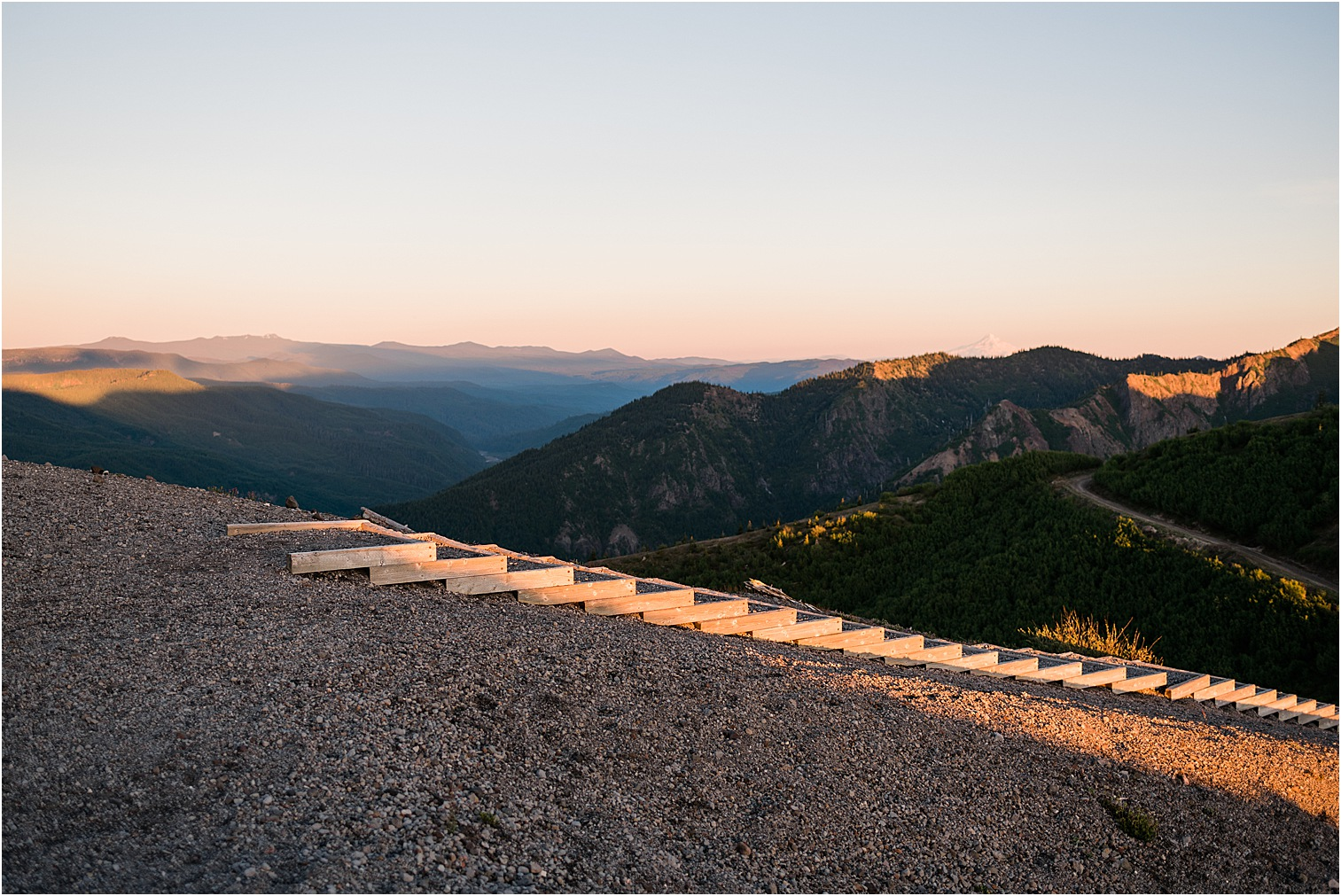 Mountain stairway at sunset. Image by Forthright Photo, wedding & elopement photographers.