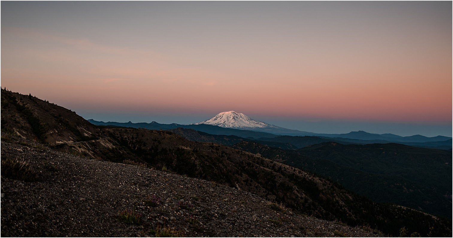 Mt. Adams at sunset via Mt St Helens viewpoint. Image by Forthright Photo, wedding & elopement photographers.