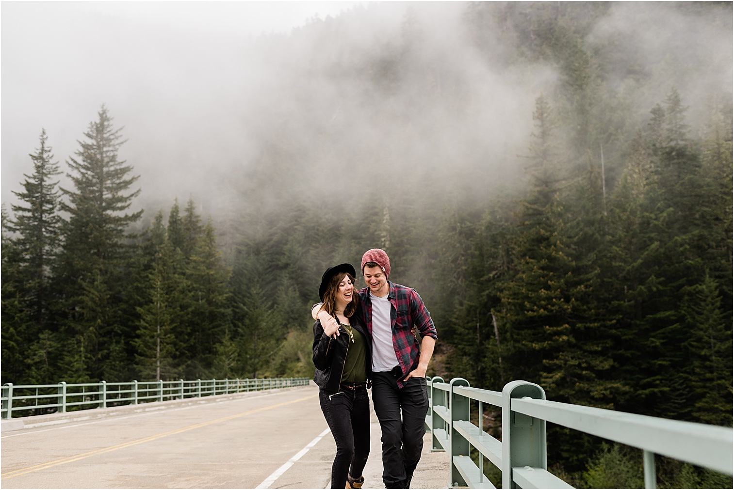 Couple on a bridge in Rainier NP. Image by Forthright Photo, Mt Rainier Photographer