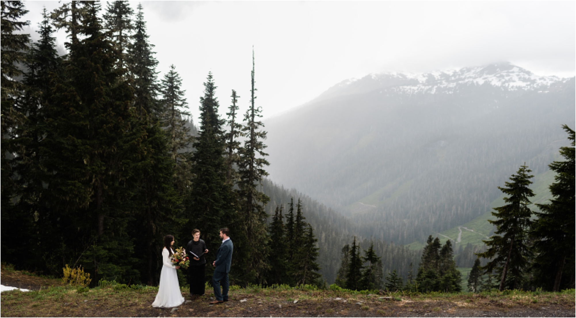 Elopement Ceremony in the mountains surrounding Mt. Baker. Image by Forthright Photo, Seattle Elopement Photographers.