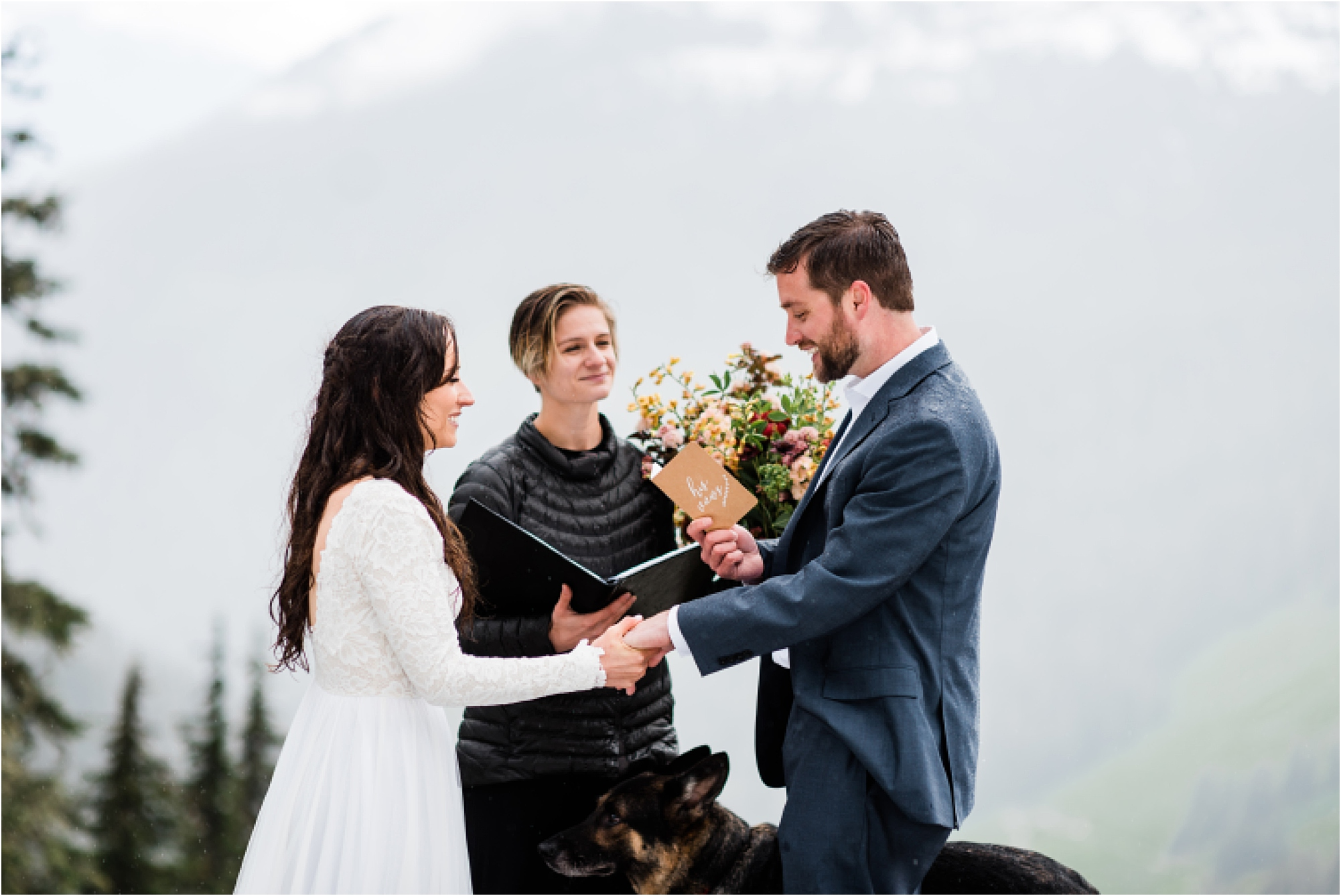 Christina & Tanner exchanging vows during their elopement ceremony in the North Cascades. Image by Forthright Photo, PNW Wedding Photographers.