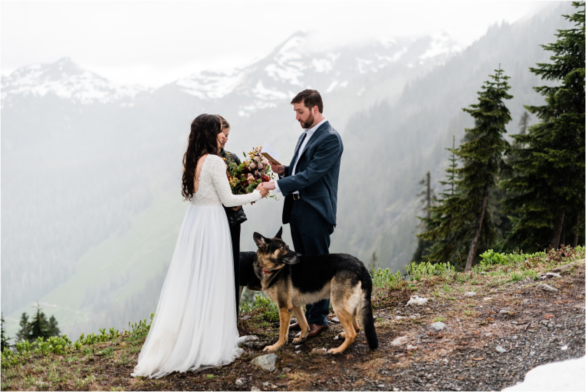Christina & Tanner exchanging vows during their elopement ceremony on Mt. Baker. Image by Forthright Photo, PNW Wedding Photographers.
