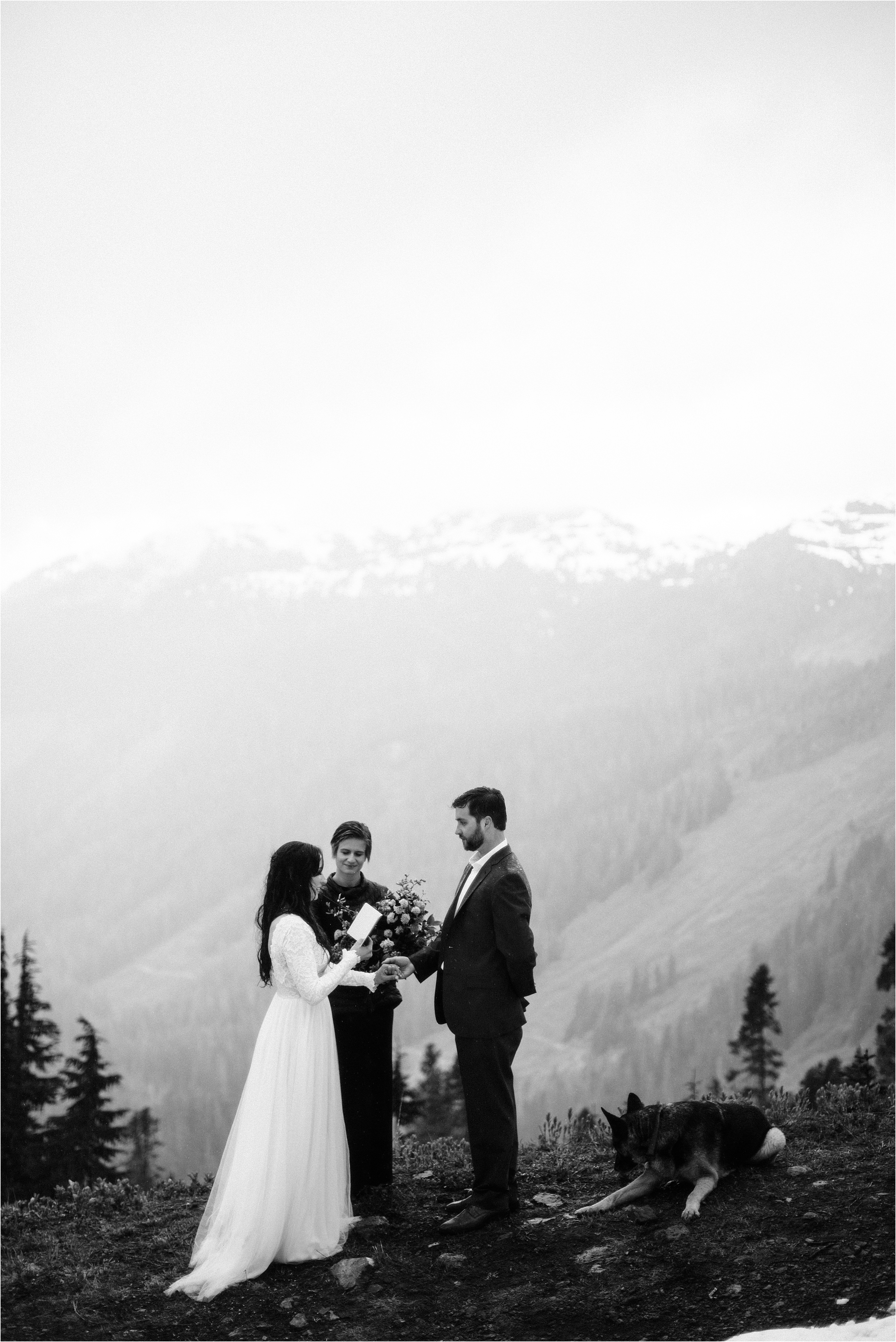 Christina & Tanner's Mt. Baker elopement ceremony. Image by Forthright Photo.