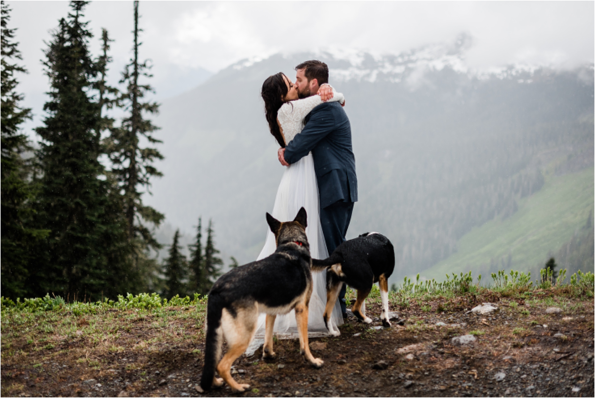 Christina & Tanner celebrating after their elopement ceremony on Mt. Baker. Image by Forthright Photo.