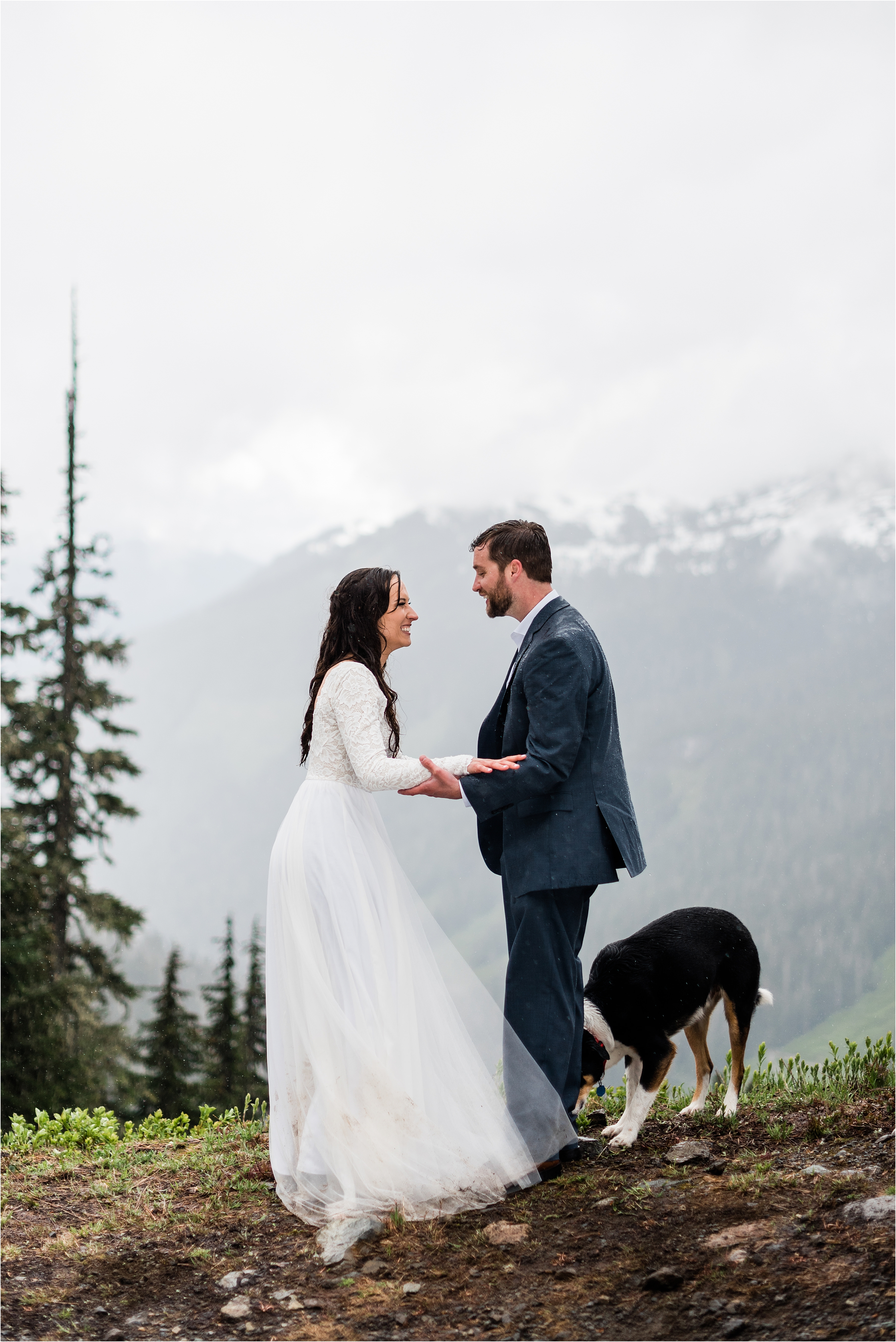 Christina & Tanner after their elopement ceremony, surrounded by the North Cascade mountains and their two dogs. Image by Forthright Photo, Seattle Elopement Photographers.