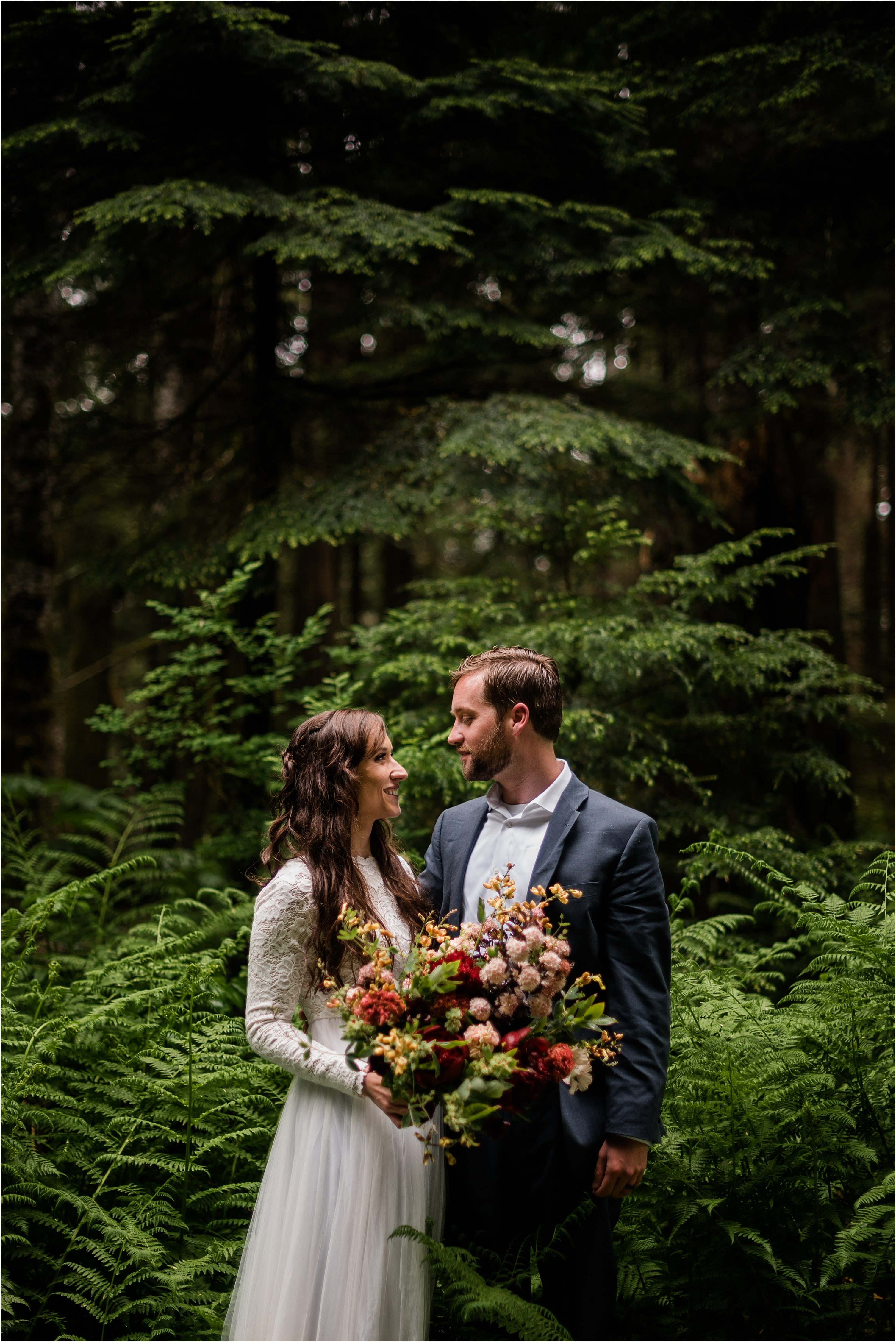 A rainy forest elopement on Mt Baker. Image by Forthright Photo, Seattle Wedding Photographers.