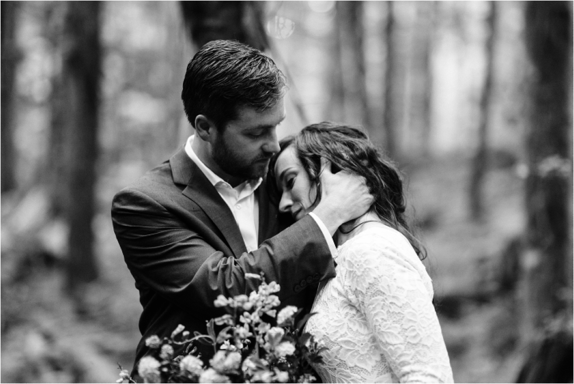 Black and white portrait of Tanner & Christina on their elopement day in the forests of Mt. Baker. Image by Forthright Photo.