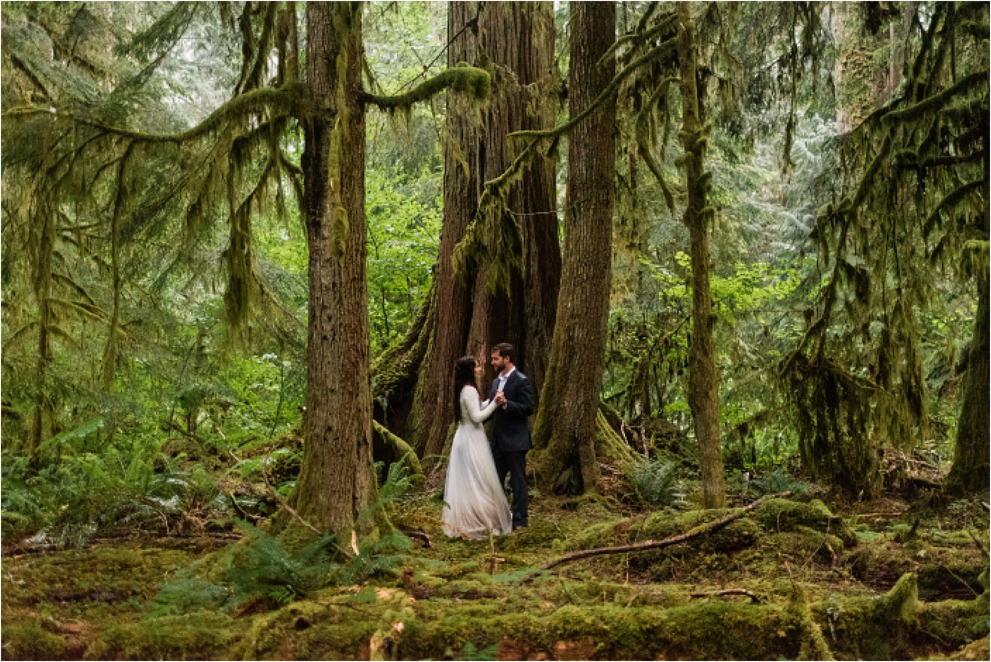 Elopement first dance in the forests of Mt. Baker. Image by Forthright Photo.