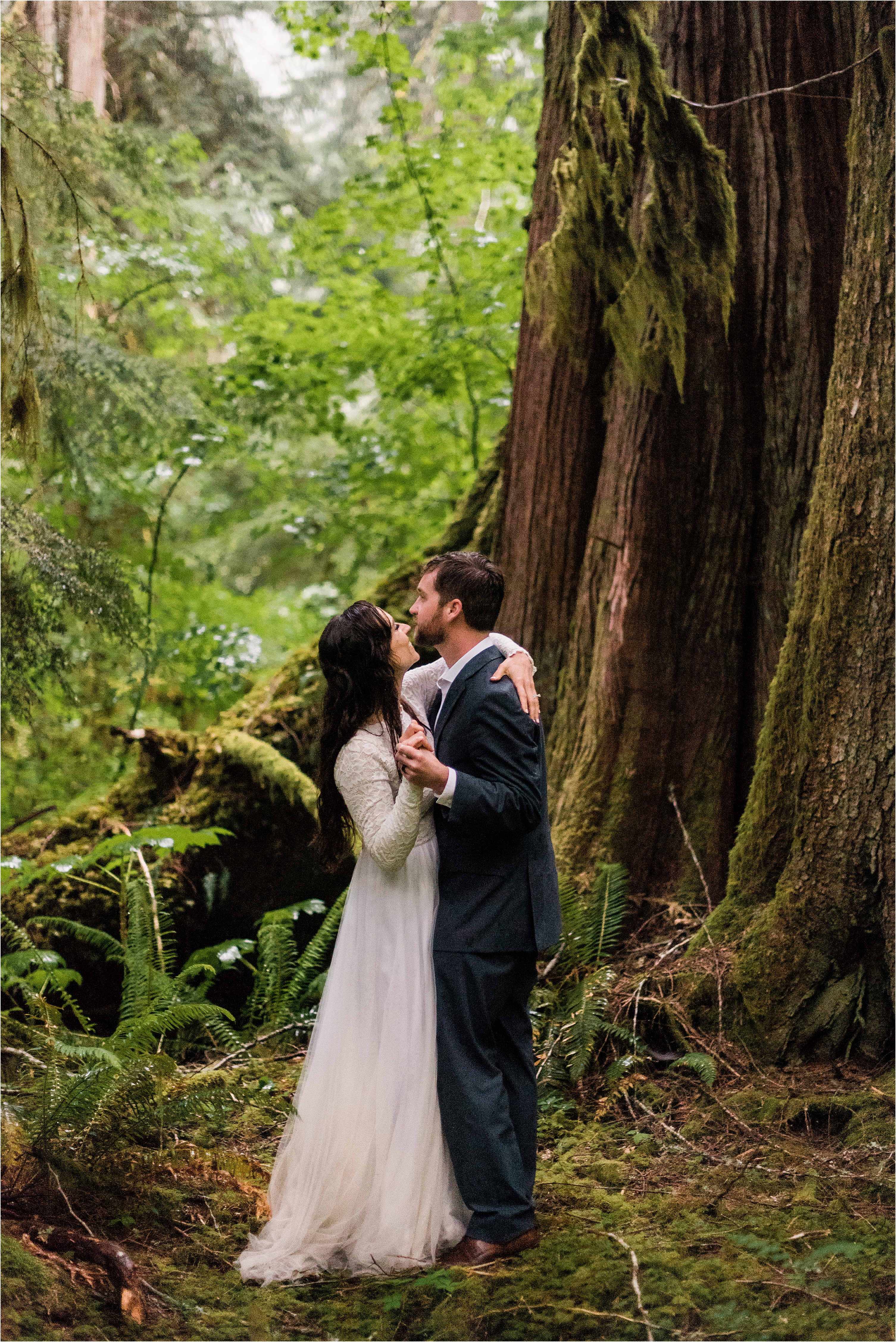 Christina & Tanner's first dance in the forest to top off their Mt. Baker elopement. Image by Forthright Photo, Seattle Elopement Photographers.