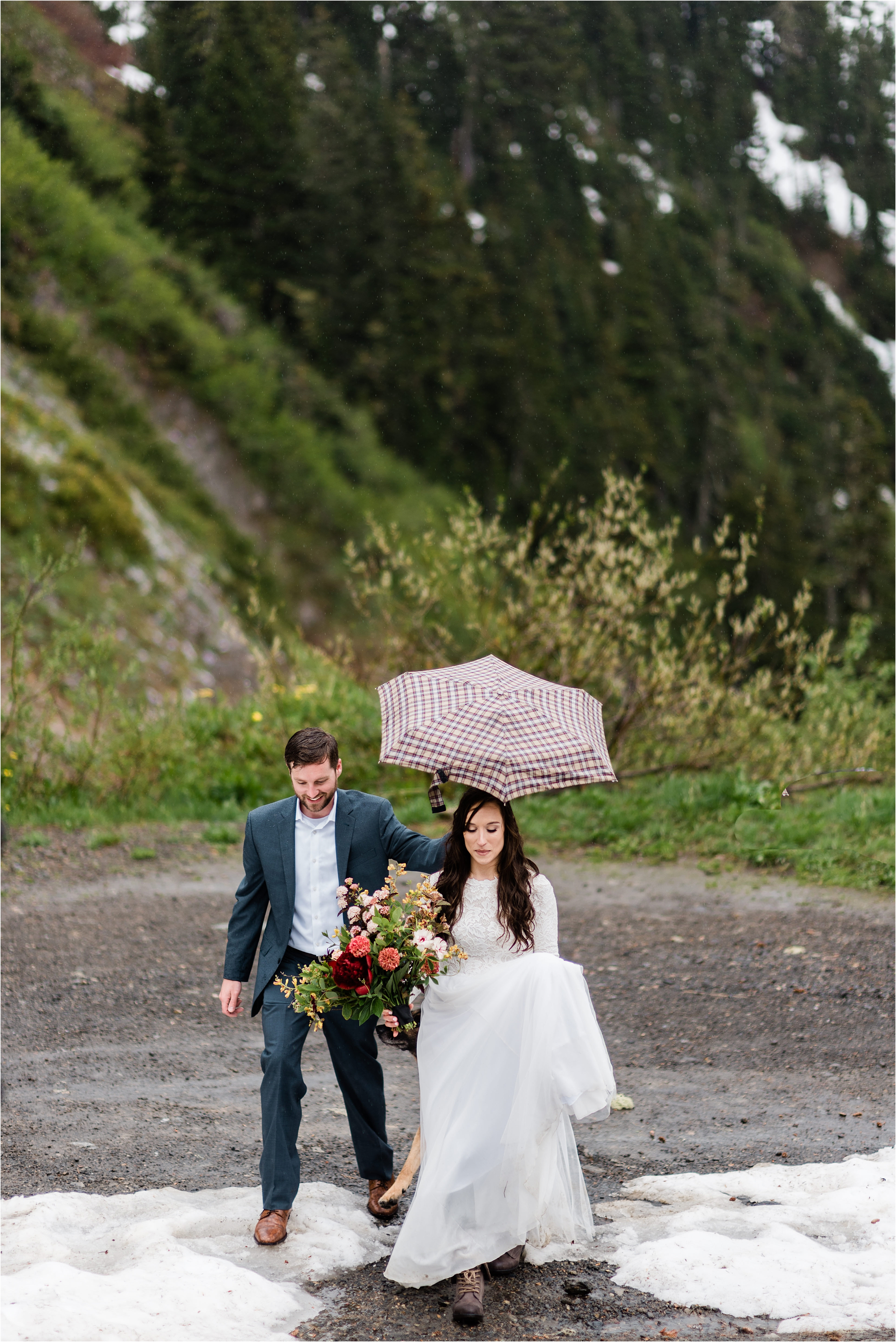 Christina & Tanner walking to their elopement ceremony on the slopes of Mt. Baker. Image by Forthright Photo, Seattle Elopement Photographers