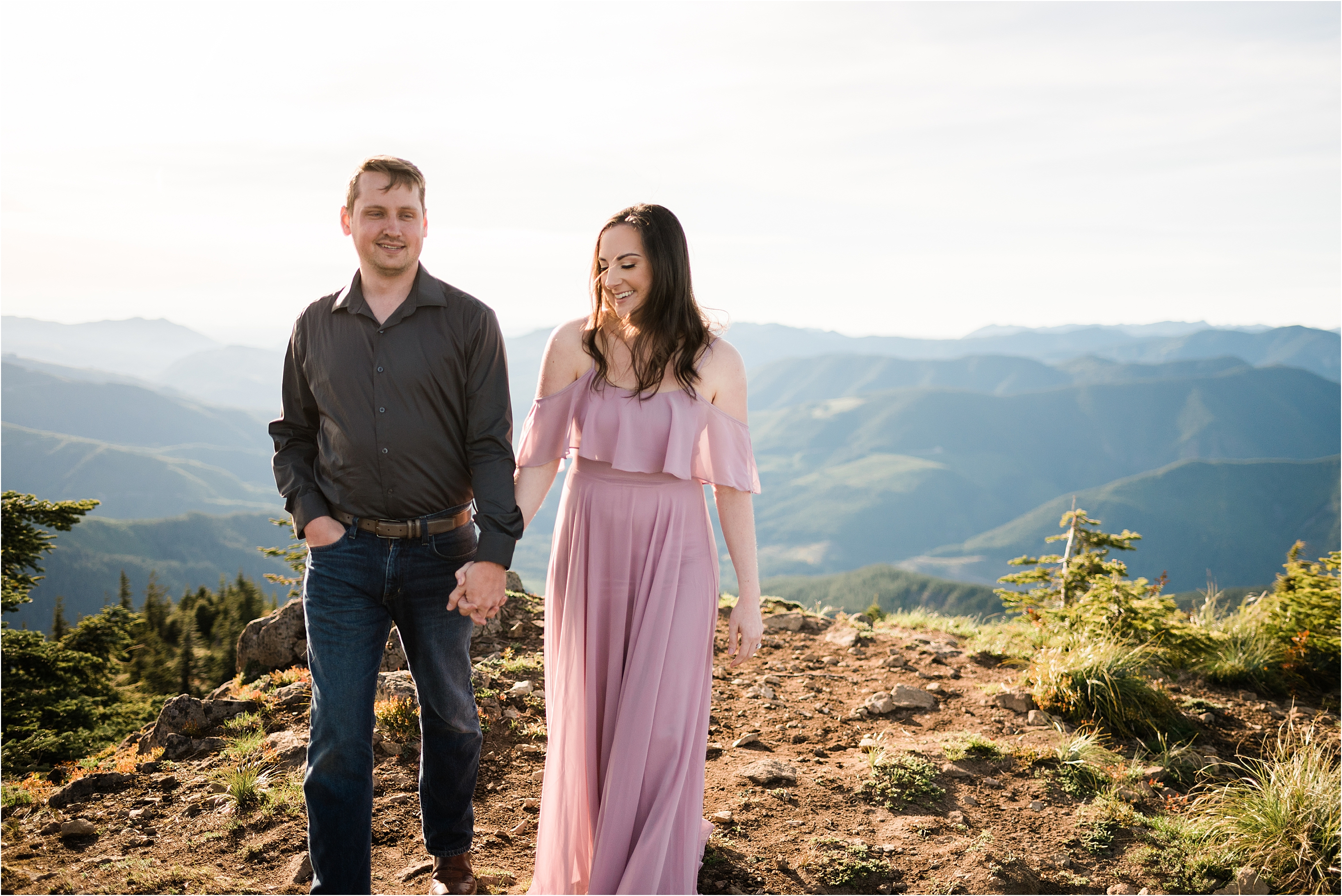 Engagement session at a Washington fire look-out. Image by Forthright Photo, Seattle Photographers.