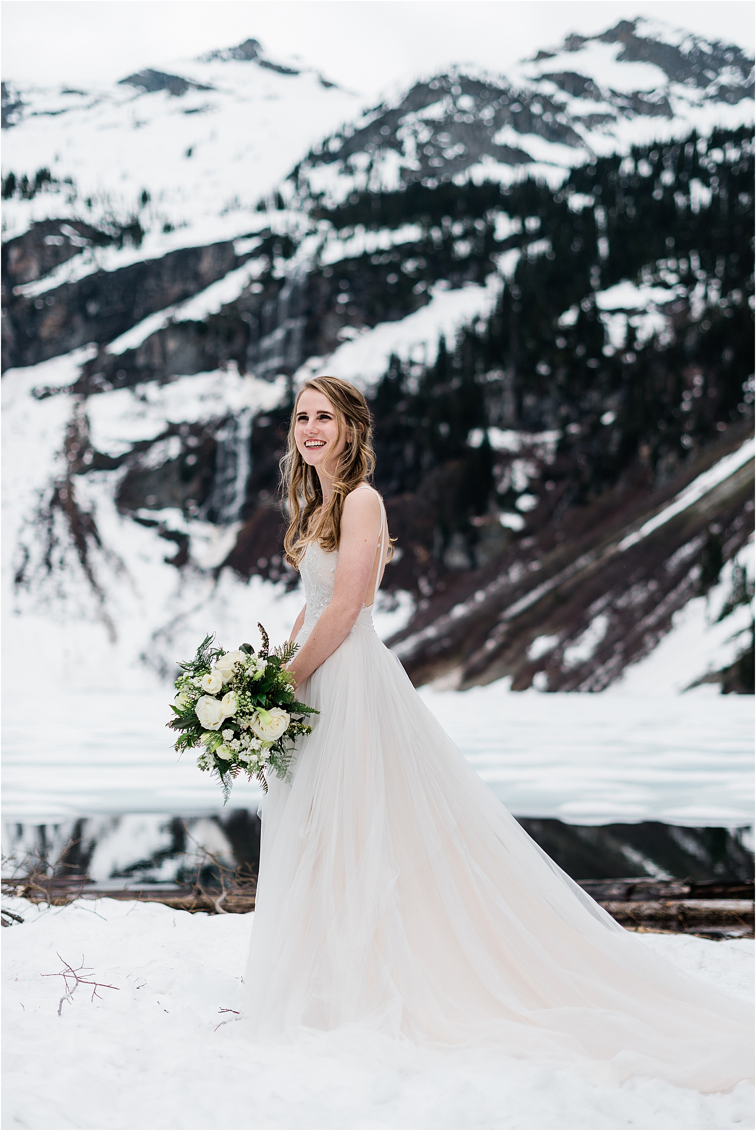 Hope after her first look in the North Cascades. Image by Forthright Photo, Seattle Wedding & Elopement Photographers